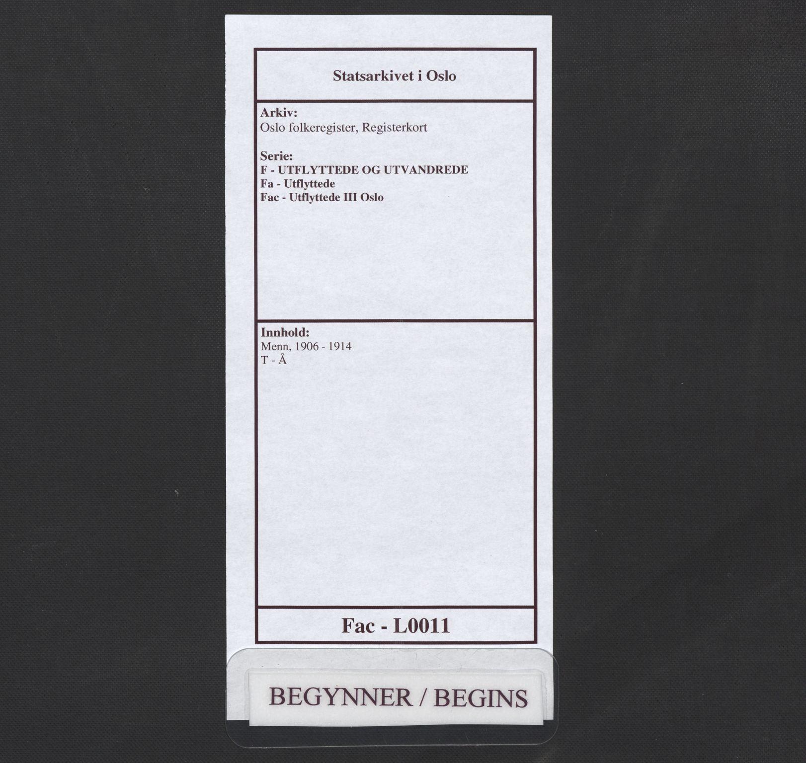 SAO, Oslo folkeregister, Registerkort, F/Fa/Fac/L0011: Menn, 1906-1914