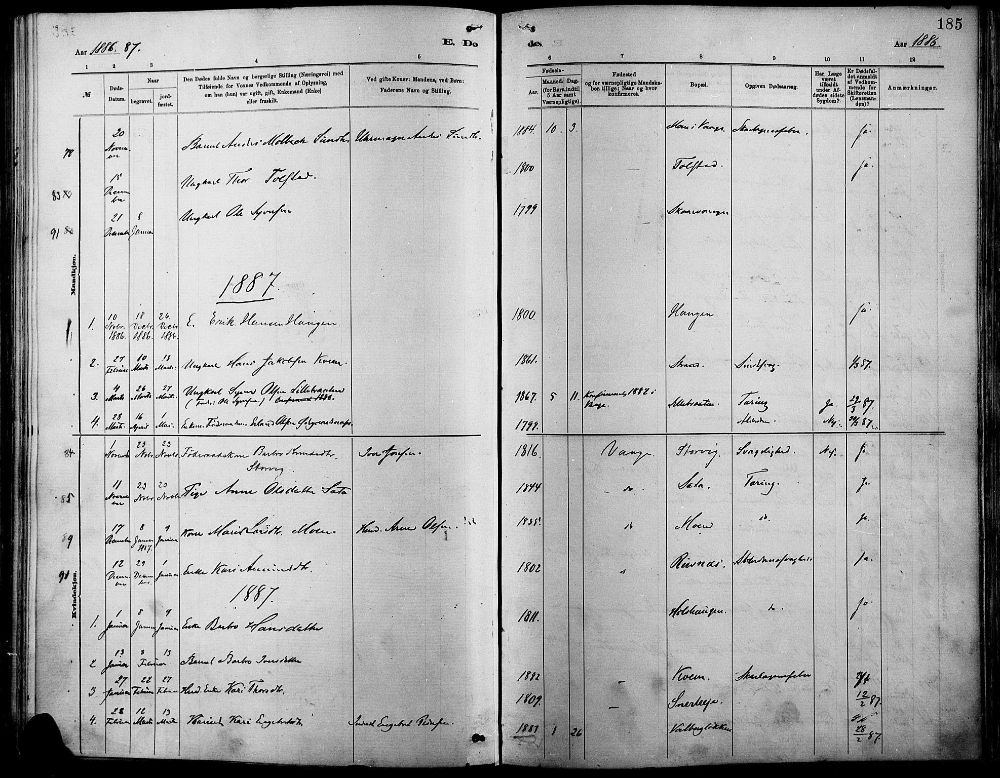 SAH, Vågå prestekontor, Ministerialbok nr. 9, 1886-1904, s. 185