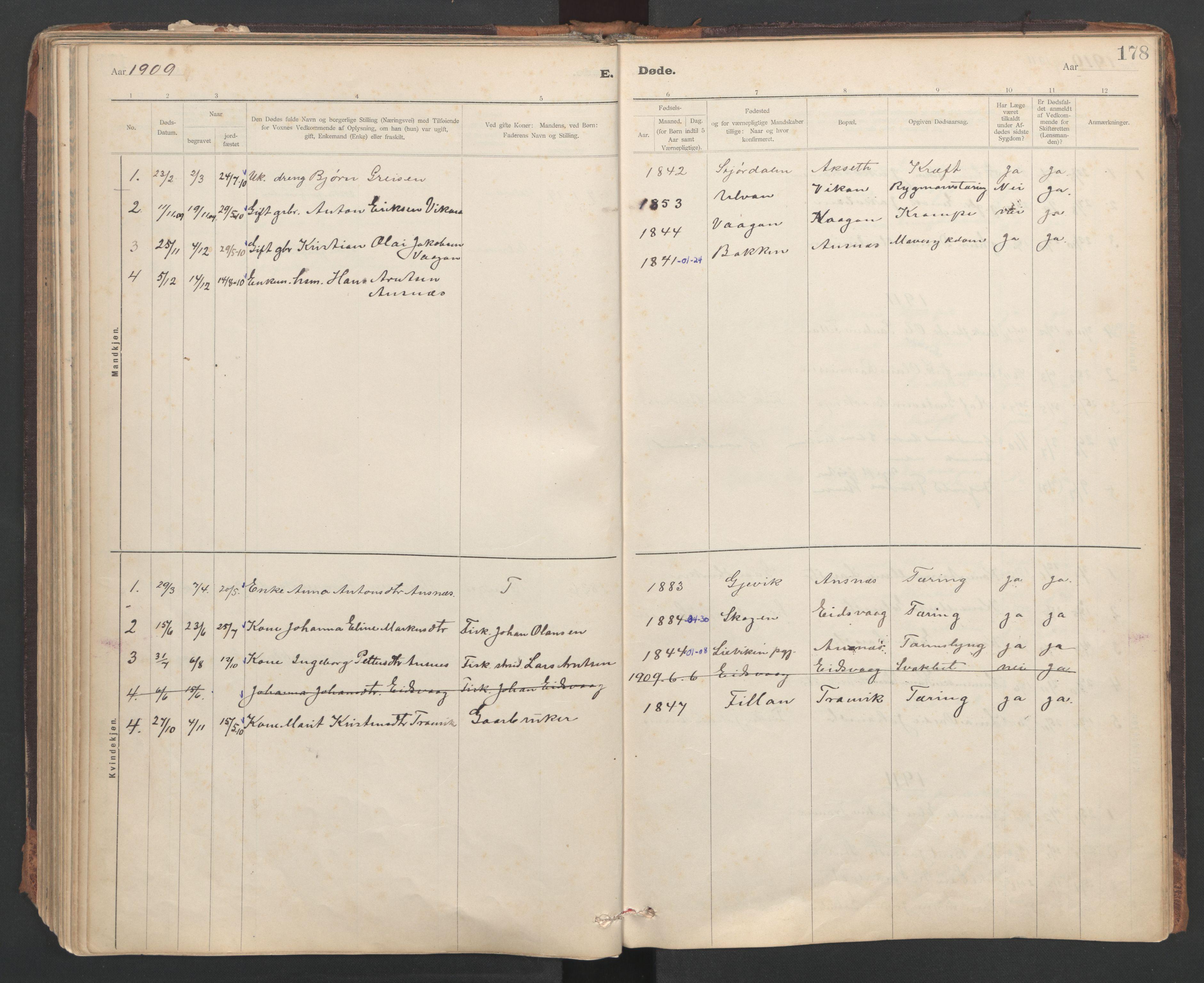 SAT, Ministerialprotokoller, klokkerbøker og fødselsregistre - Sør-Trøndelag, 637/L0559: Ministerialbok nr. 637A02, 1899-1923, s. 178