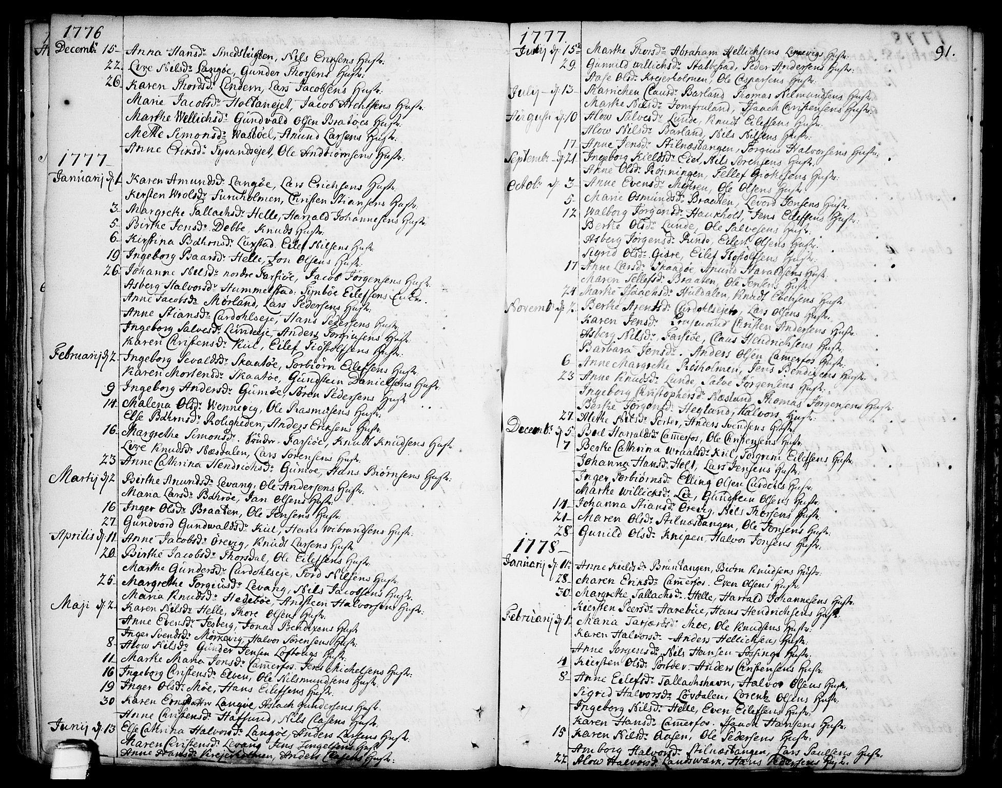 SAKO, Sannidal kirkebøker, F/Fa/L0002: Ministerialbok nr. 2, 1767-1802, s. 91