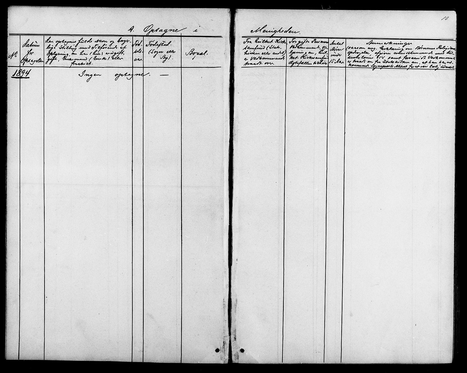 SAK, Baptistmenigheten i Tvedestrand, F/Fa/L0002: Dissenterprotokoll nr. F 1, 1892-1895, s. 10
