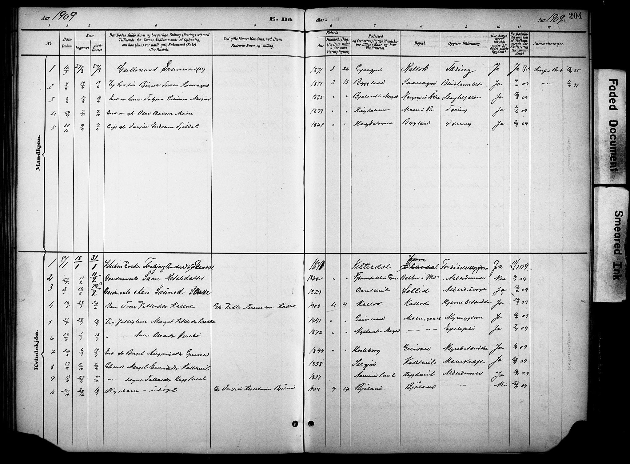 SAKO, Kviteseid kirkebøker, G/Gb/L0003: Klokkerbok nr. II 3, 1893-1933, s. 204