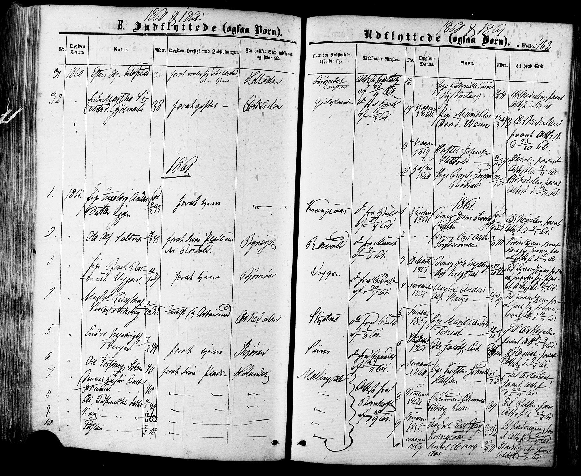 SAT, Ministerialprotokoller, klokkerbøker og fødselsregistre - Sør-Trøndelag, 665/L0772: Ministerialbok nr. 665A07, 1856-1878, s. 462