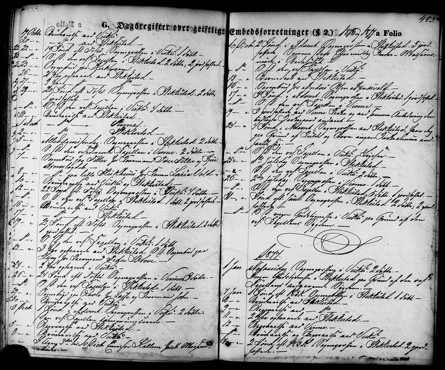 SAT, Ministerialprotokoller, klokkerbøker og fødselsregistre - Nord-Trøndelag, 723/L0242: Ministerialbok nr. 723A11, 1870-1880, s. 493
