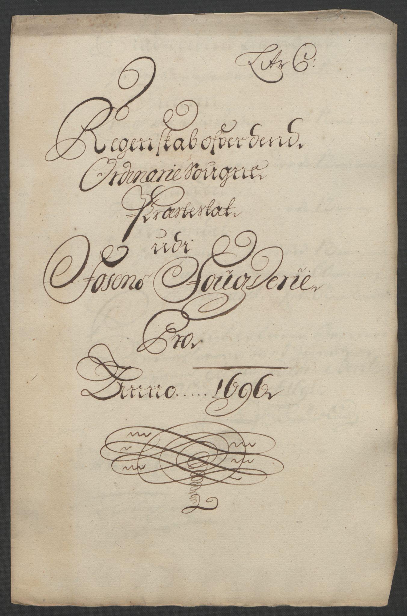 RA, Rentekammeret inntil 1814, Reviderte regnskaper, Fogderegnskap, R57/L3851: Fogderegnskap Fosen, 1695-1696, s. 241
