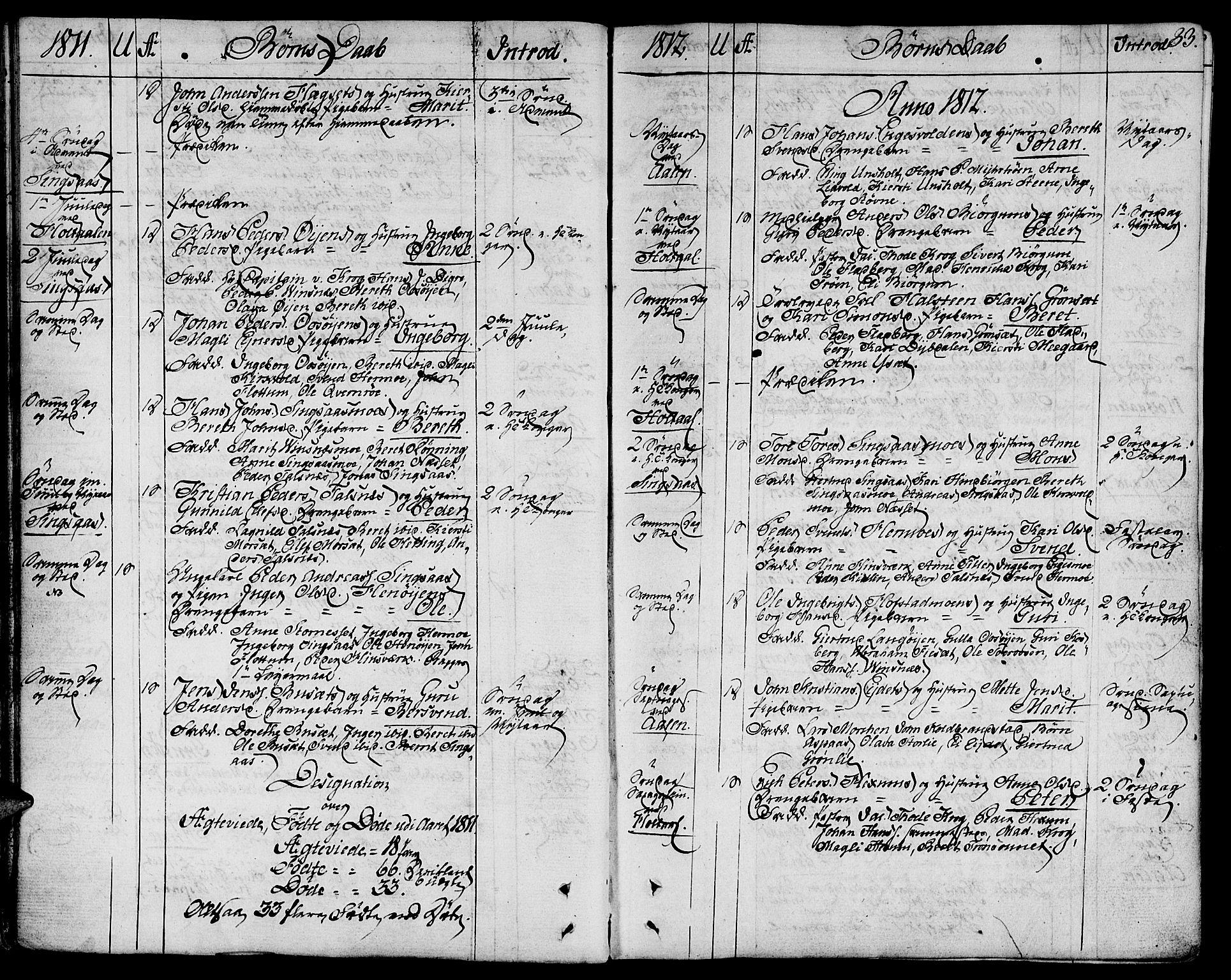 SAT, Ministerialprotokoller, klokkerbøker og fødselsregistre - Sør-Trøndelag, 685/L0953: Ministerialbok nr. 685A02, 1805-1816, s. 33
