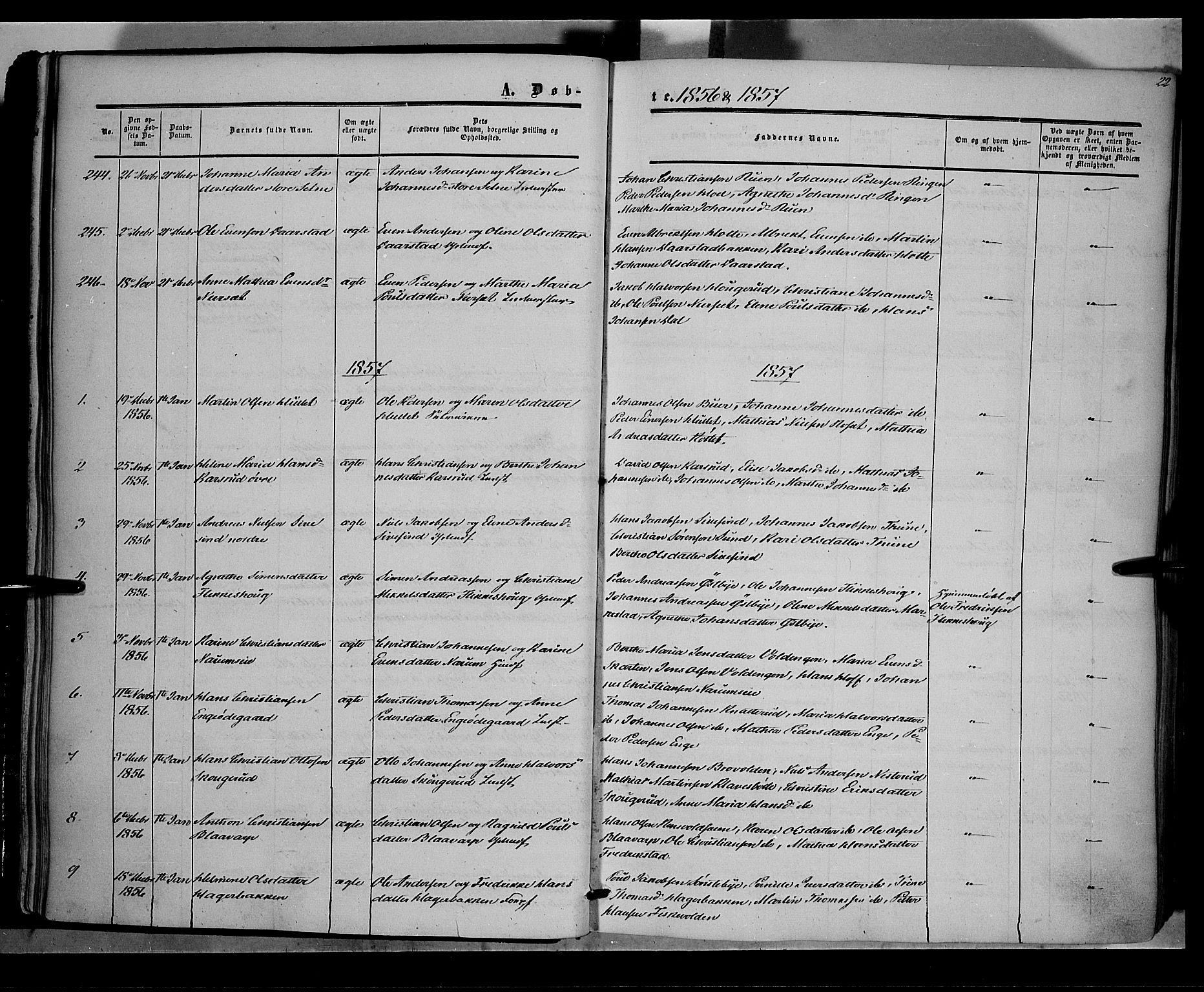 SAH, Vestre Toten prestekontor, H/Ha/Haa/L0006: Ministerialbok nr. 6, 1856-1861, s. 22