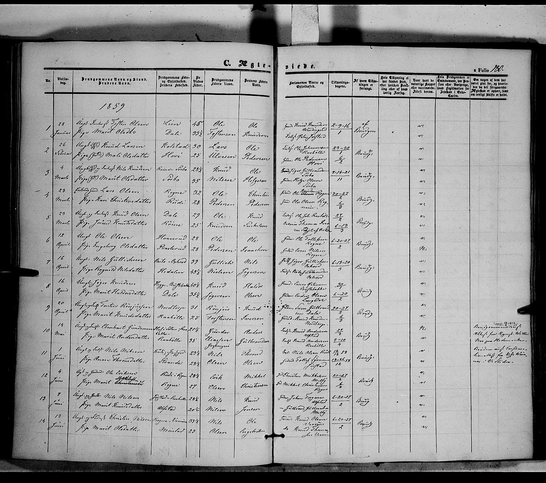 SAH, Øystre Slidre prestekontor, Ministerialbok nr. 1, 1849-1874, s. 180
