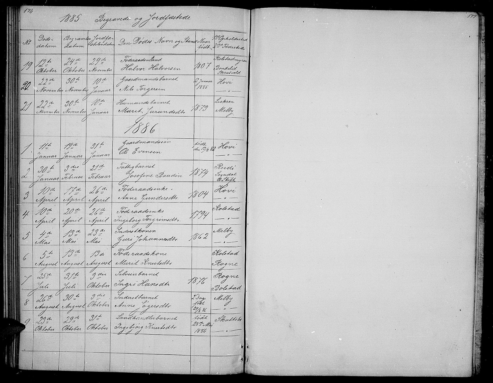 SAH, Øystre Slidre prestekontor, Klokkerbok nr. 3, 1866-1886, s. 176-177