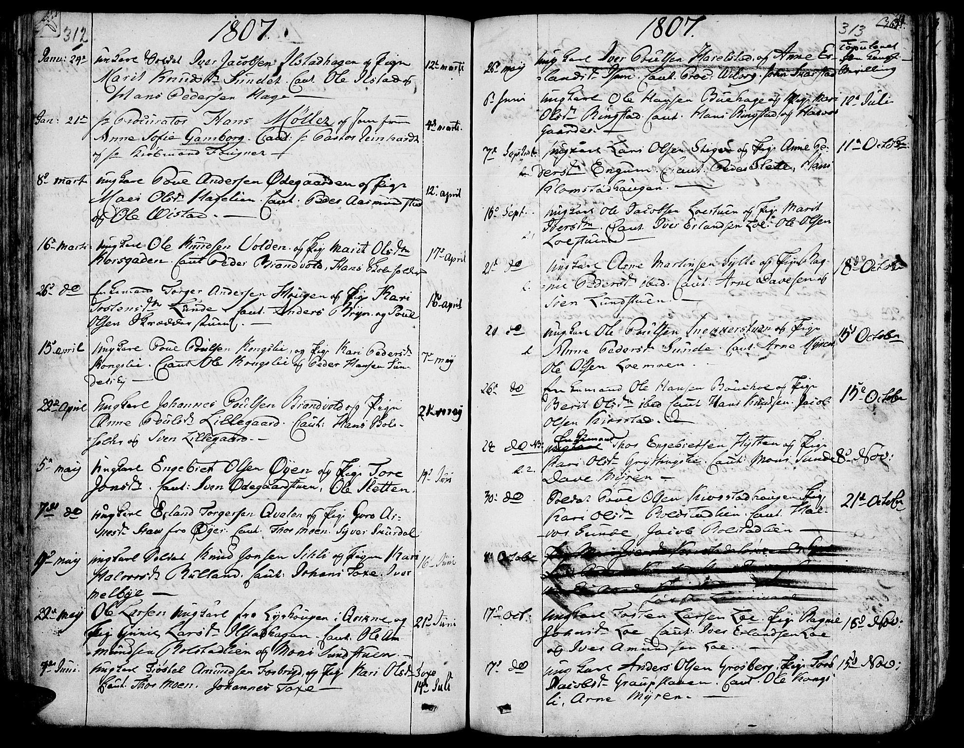SAH, Fron prestekontor, H/Ha/Haa/L0001: Ministerialbok nr. 1, 1799-1816, s. 312-313