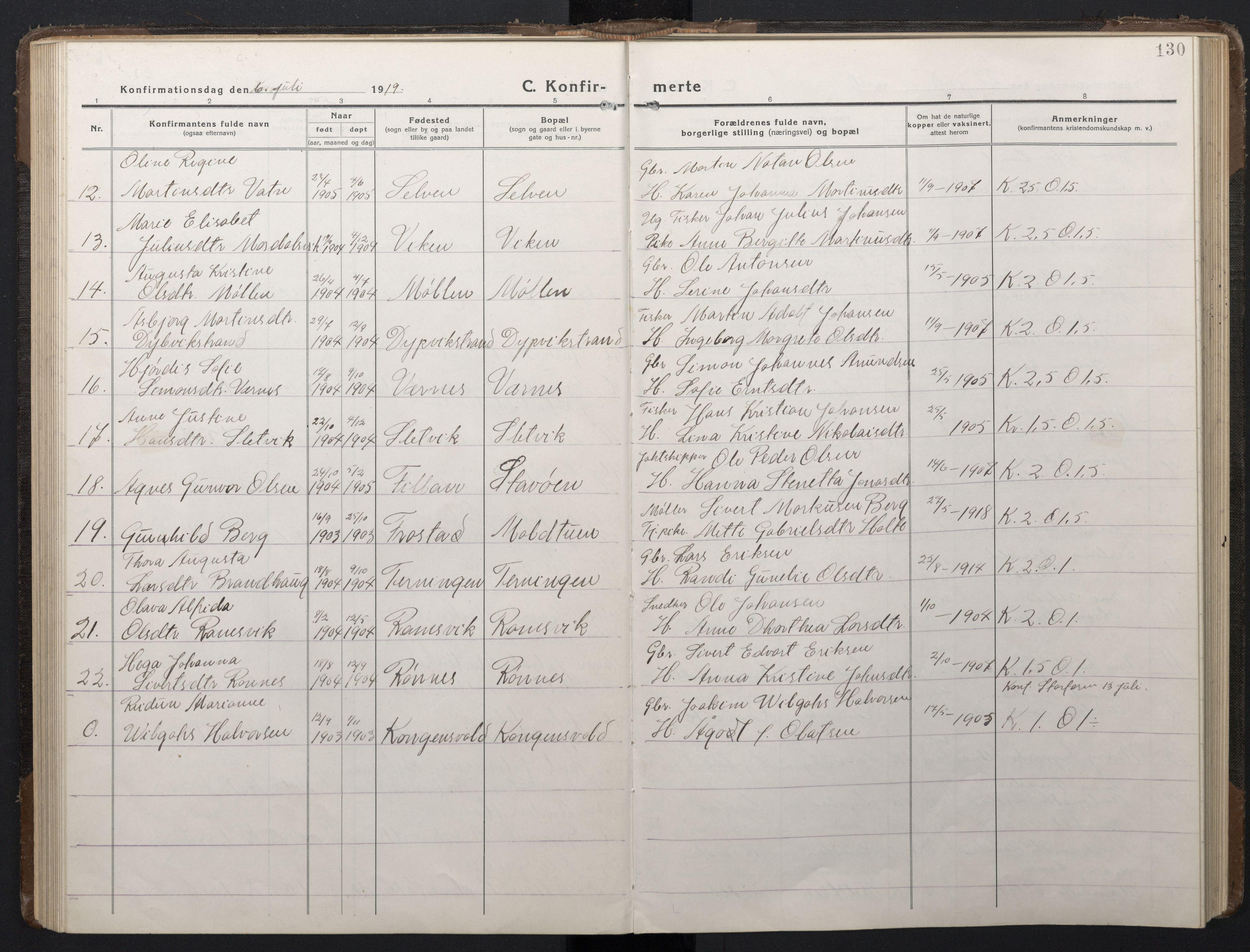 SAT, Ministerialprotokoller, klokkerbøker og fødselsregistre - Sør-Trøndelag, 662/L0758: Klokkerbok nr. 662C03, 1918-1948, s. 130