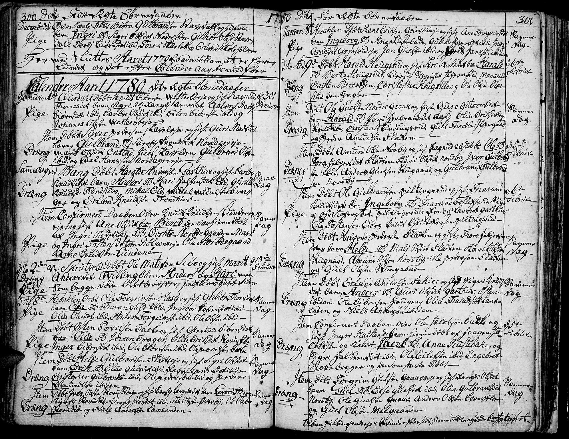 SAH, Aurdal prestekontor, Ministerialbok nr. 5, 1763-1781, s. 300-301