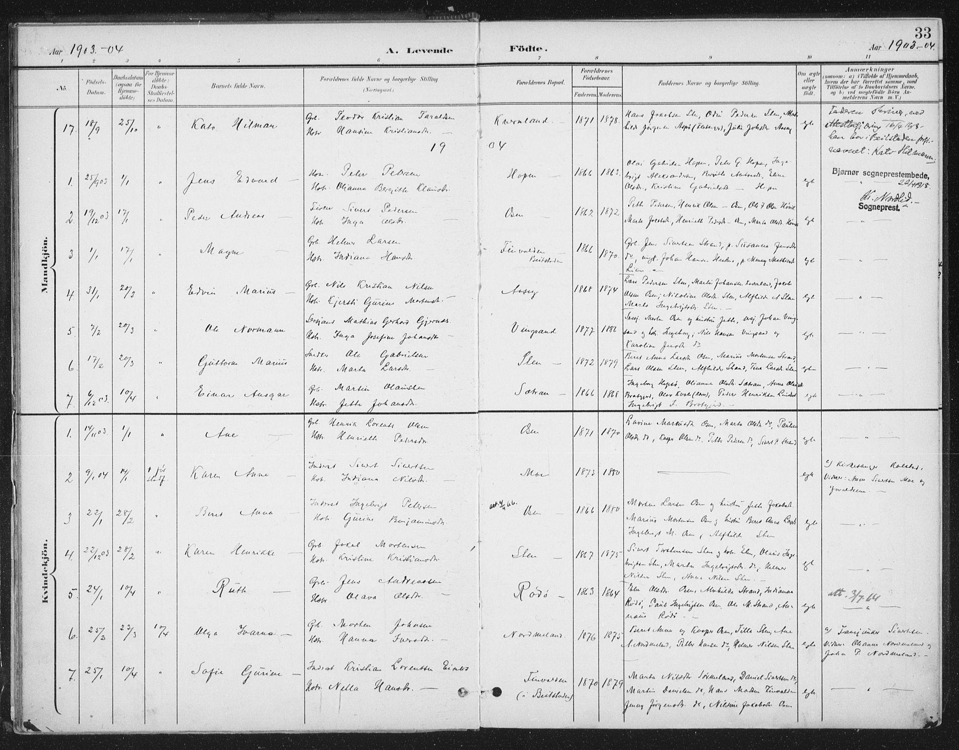 SAT, Ministerialprotokoller, klokkerbøker og fødselsregistre - Sør-Trøndelag, 658/L0723: Ministerialbok nr. 658A02, 1897-1912, s. 33