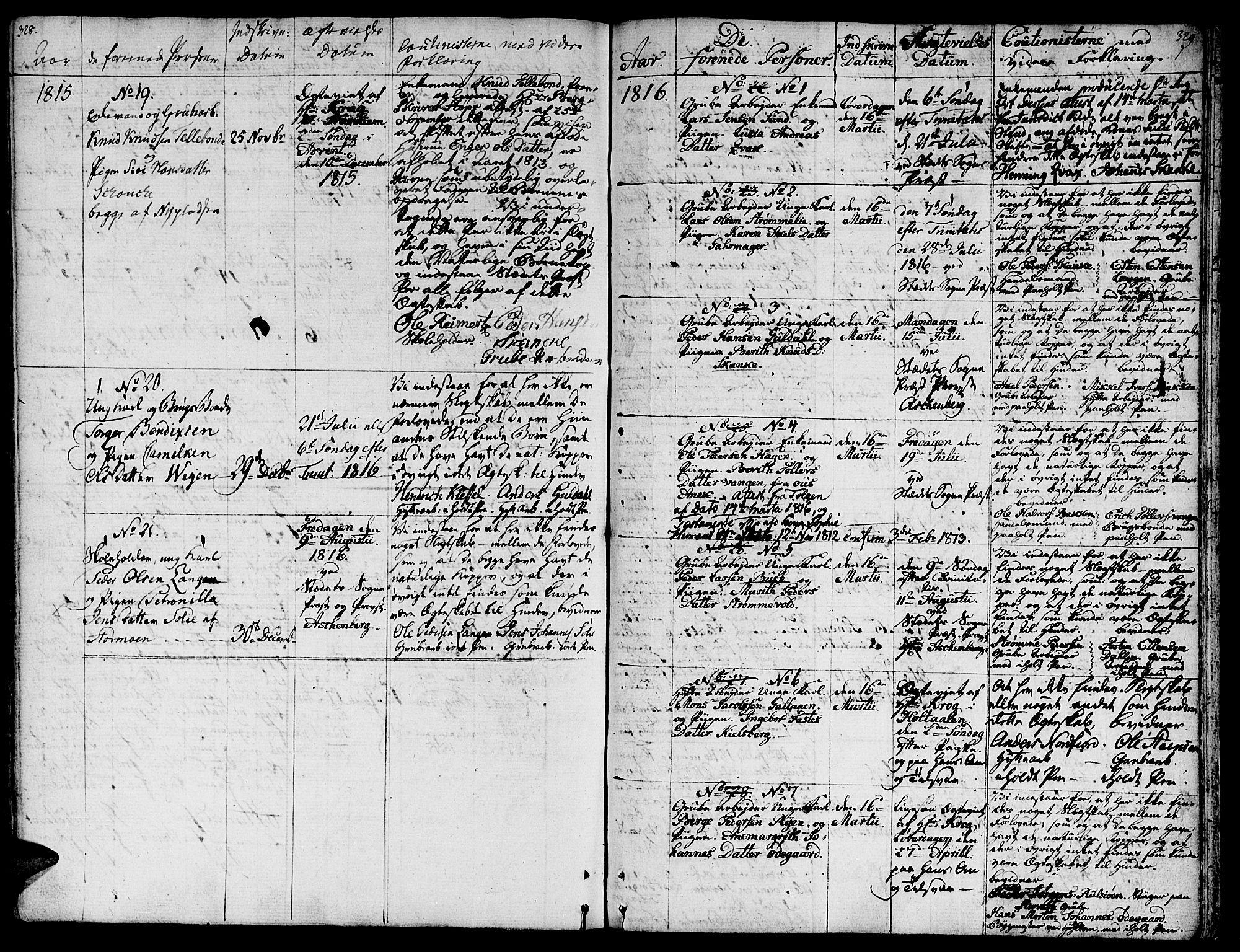 SAT, Ministerialprotokoller, klokkerbøker og fødselsregistre - Sør-Trøndelag, 681/L0928: Ministerialbok nr. 681A06, 1806-1816, s. 328-329