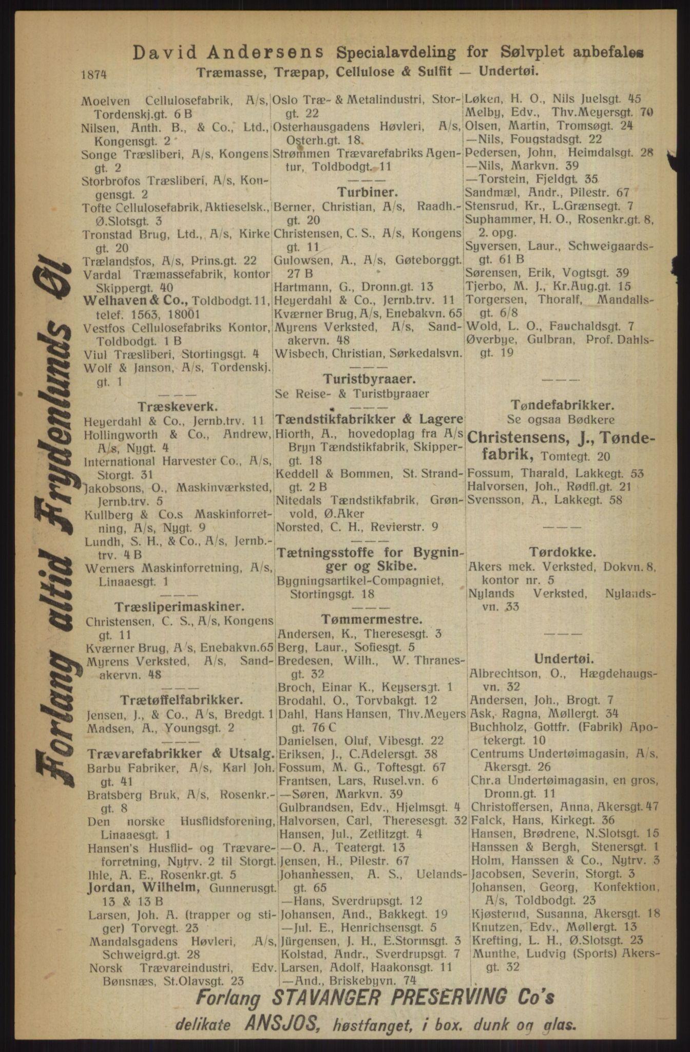 RA, Kristiania adressebok (publikasjon)*, 1914, s. 1874
