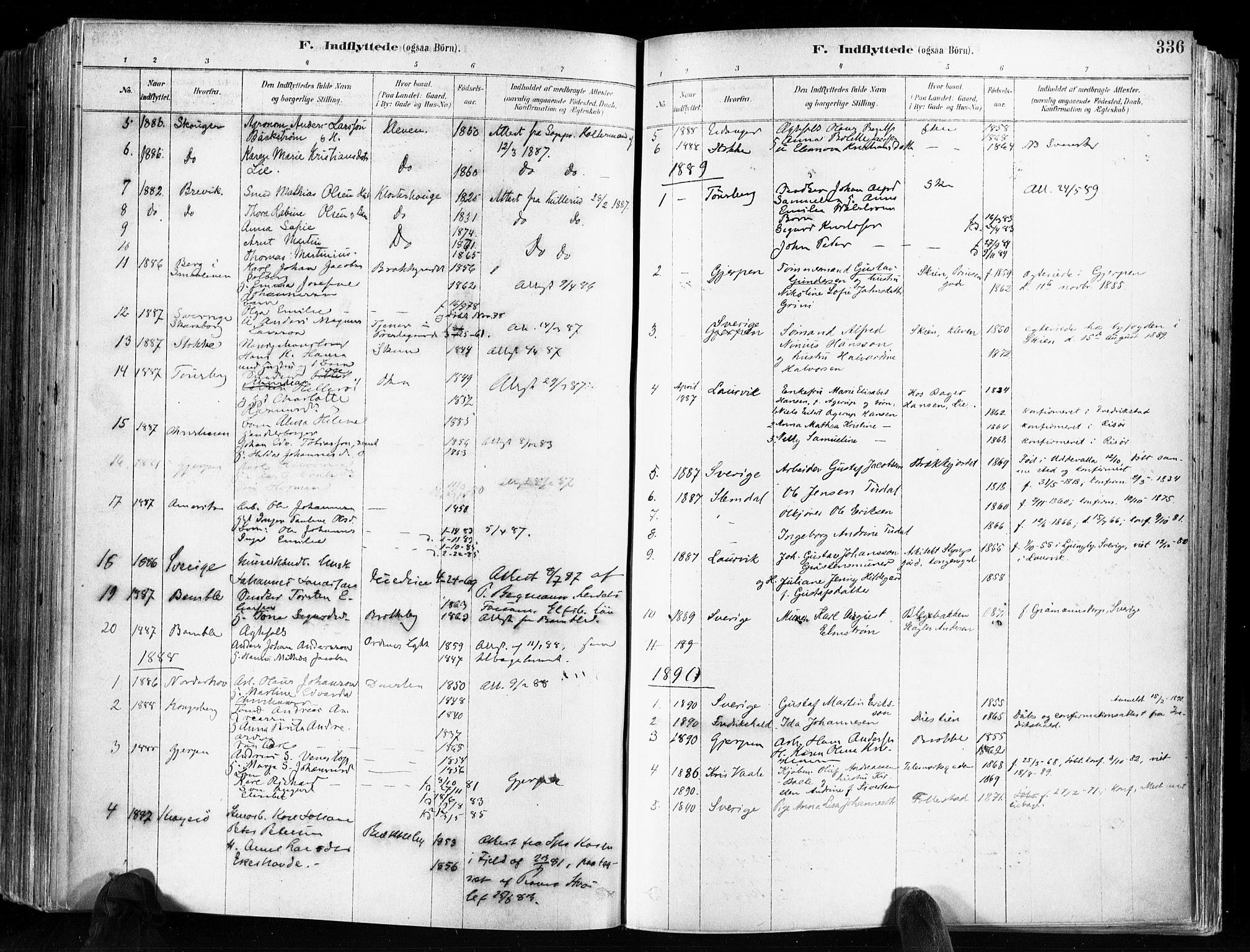 SAKO, Skien kirkebøker, F/Fa/L0009: Ministerialbok nr. 9, 1878-1890, s. 336