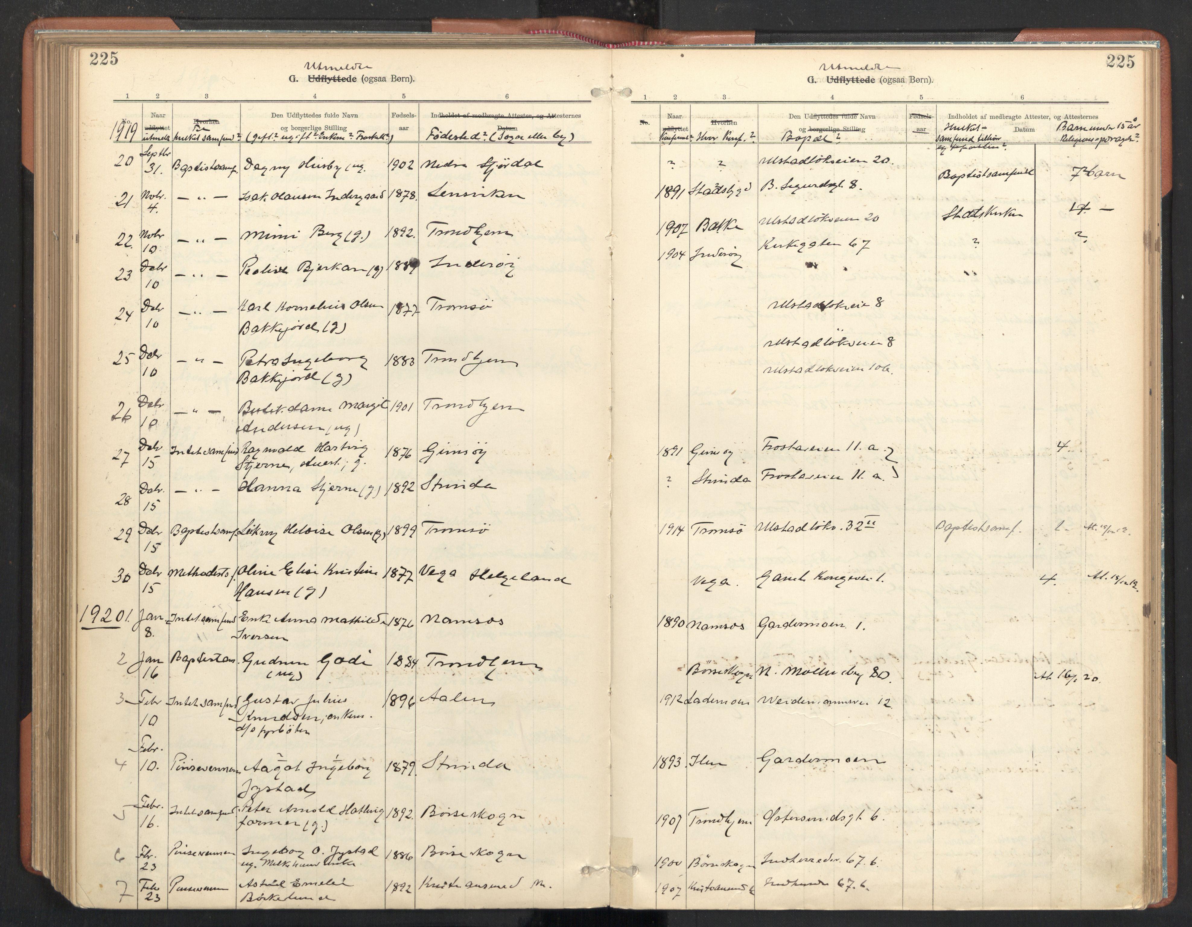 SAT, Ministerialprotokoller, klokkerbøker og fødselsregistre - Sør-Trøndelag, 605/L0244: Ministerialbok nr. 605A06, 1908-1954, s. 225