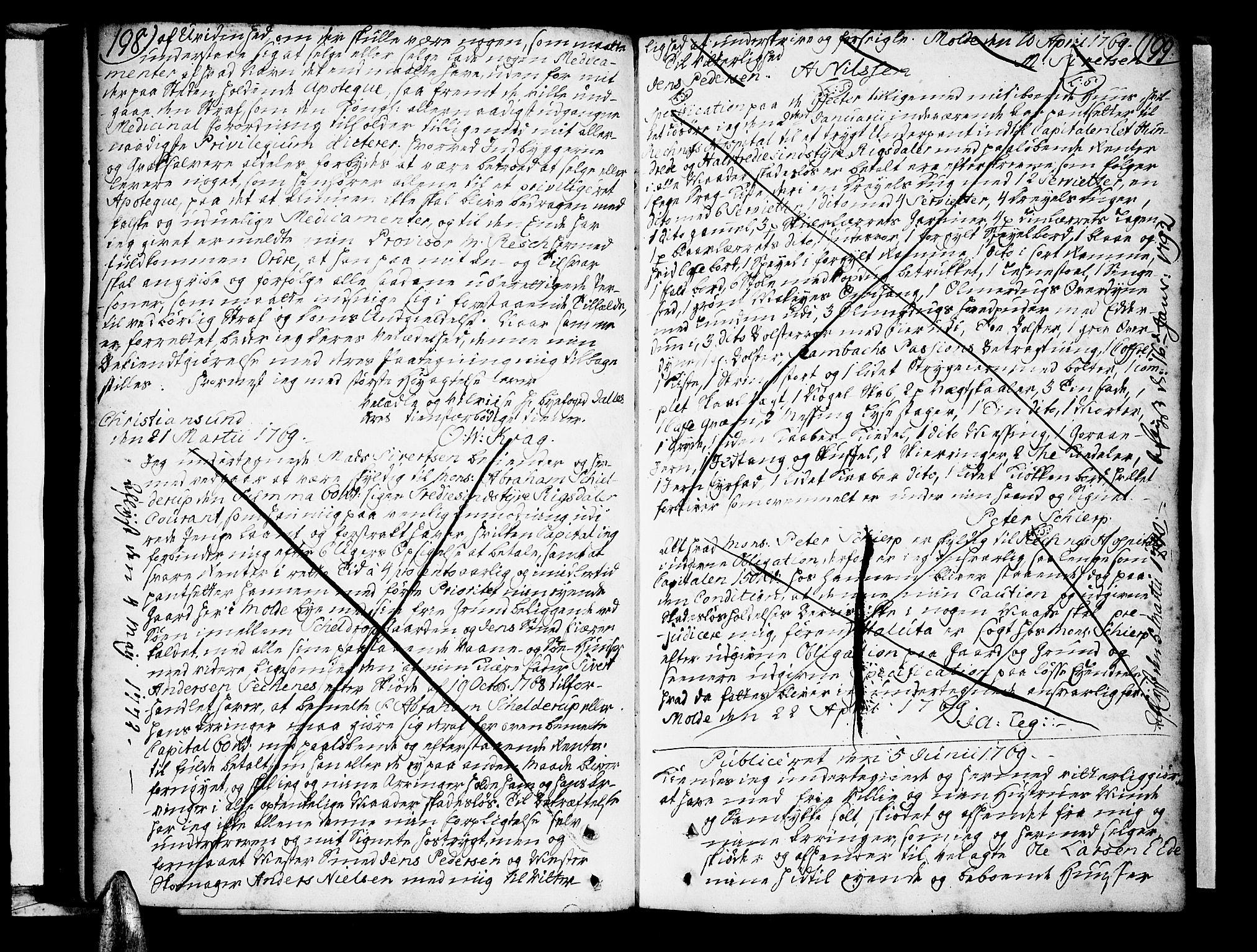 SAT, Molde byfogd, 2/2C/L0001: Pantebok nr. 1, 1748-1823, s. 198-199