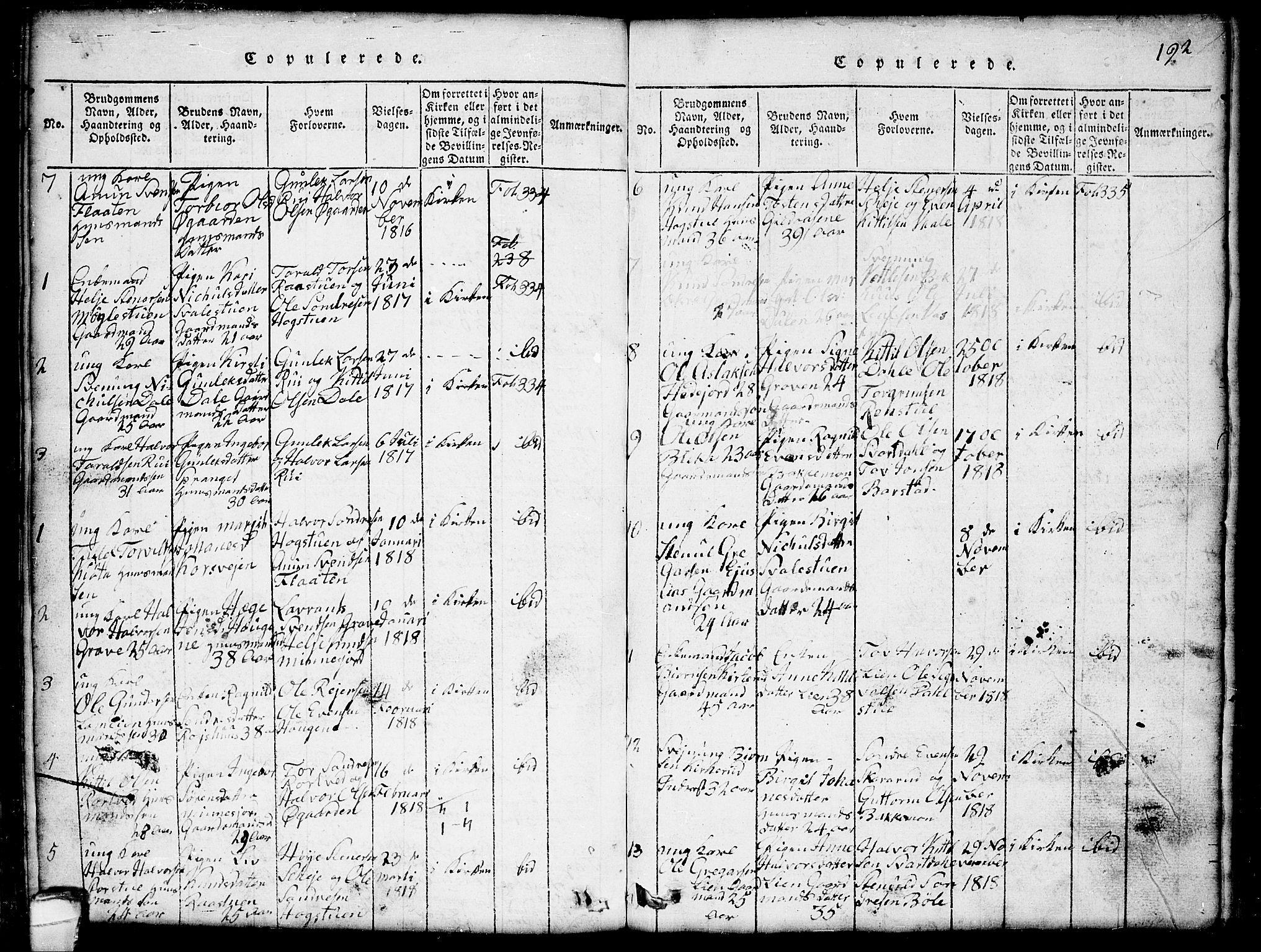 SAKO, Seljord kirkebøker, G/Gb/L0002: Klokkerbok nr. II 2, 1815-1854, s. 192