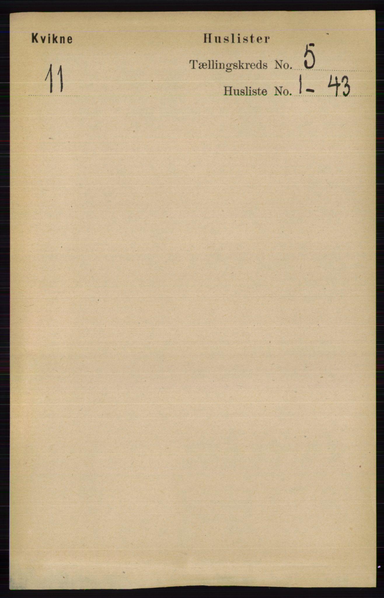 RA, Folketelling 1891 for 0440 Kvikne herred, 1891, s. 1288