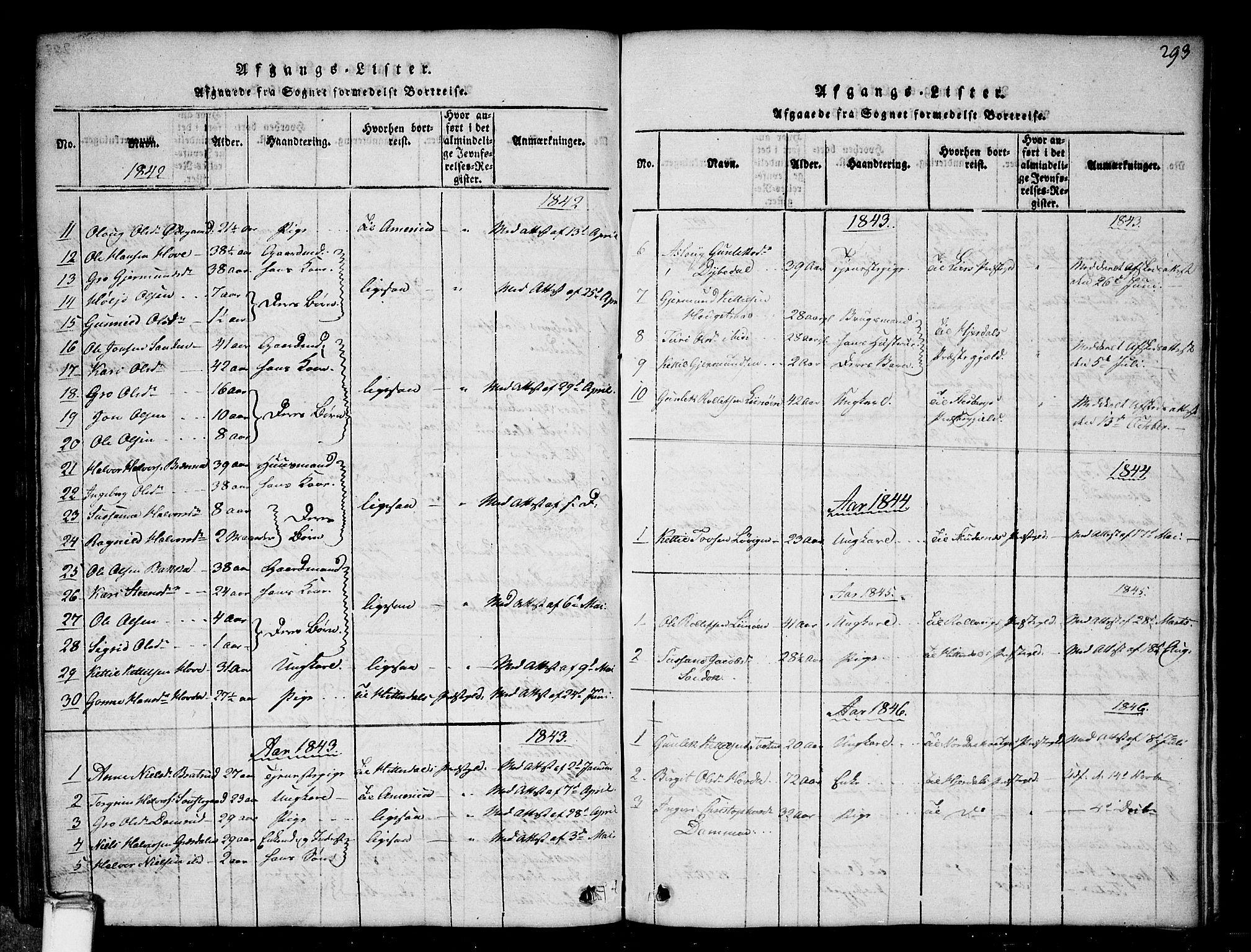 SAKO, Gransherad kirkebøker, G/Gb/L0001: Klokkerbok nr. II 1, 1815-1860, s. 293