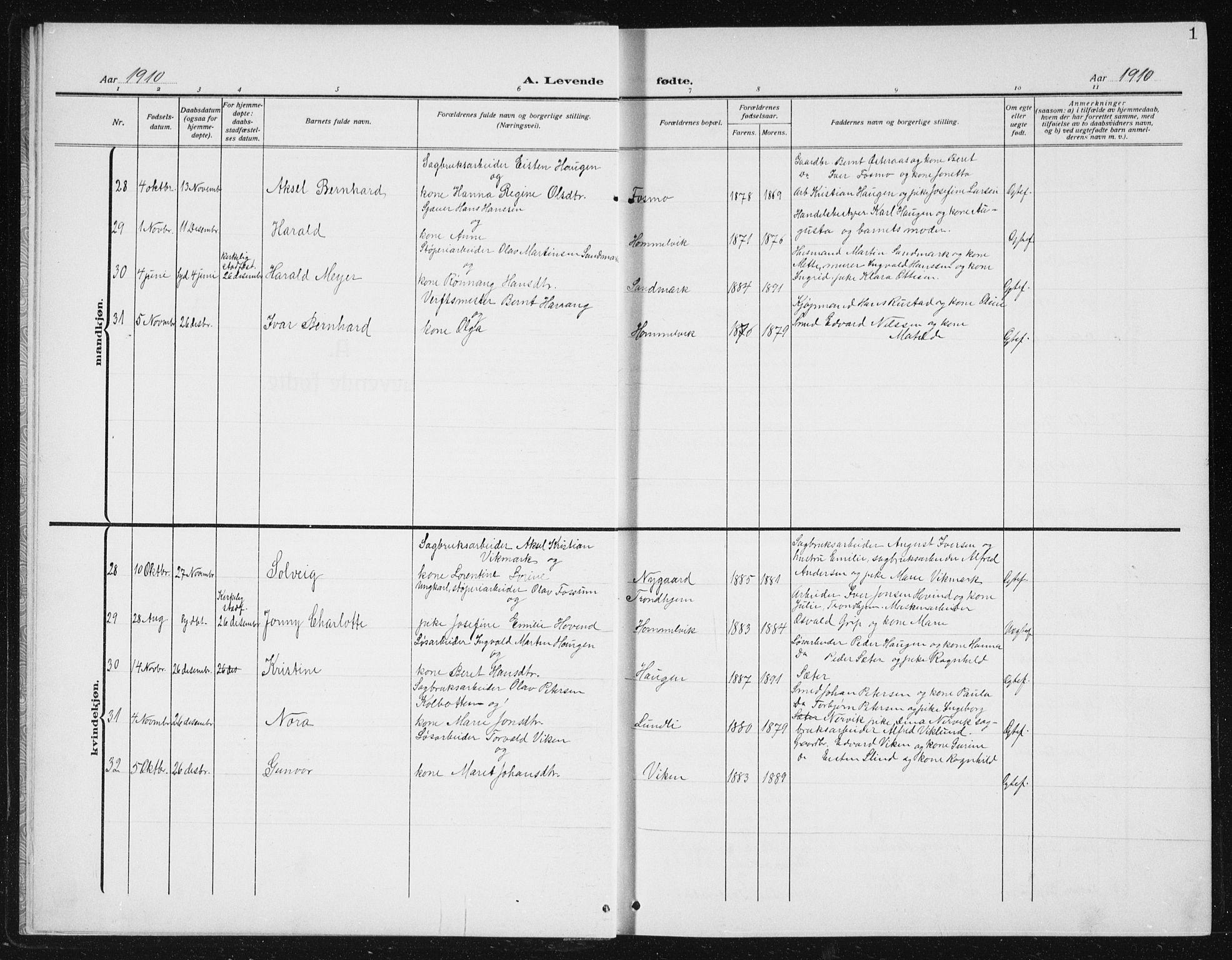 SAT, Ministerialprotokoller, klokkerbøker og fødselsregistre - Sør-Trøndelag, 617/L0431: Klokkerbok nr. 617C02, 1910-1936, s. 1