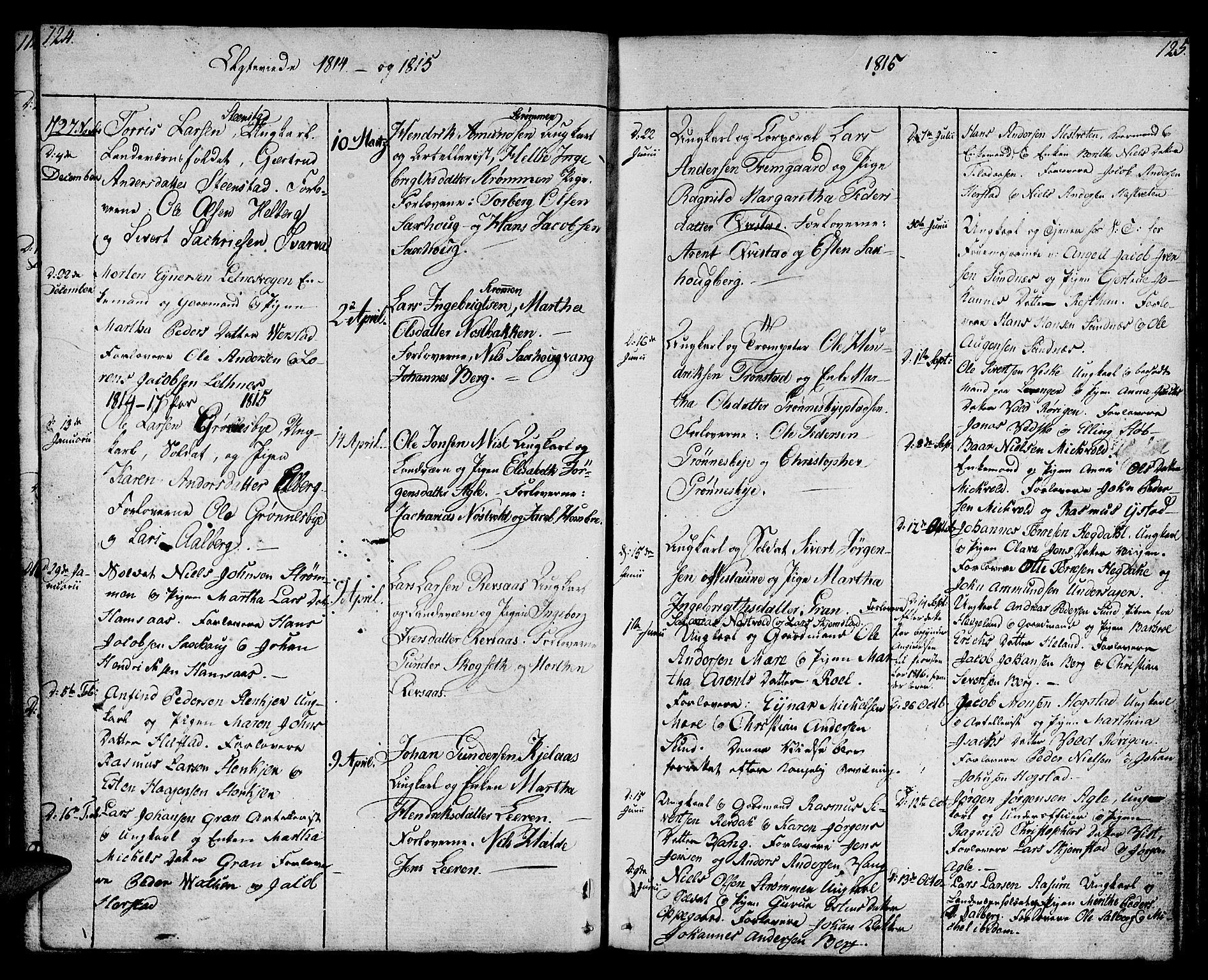 SAT, Ministerialprotokoller, klokkerbøker og fødselsregistre - Nord-Trøndelag, 730/L0274: Ministerialbok nr. 730A03, 1802-1816, s. 124-125