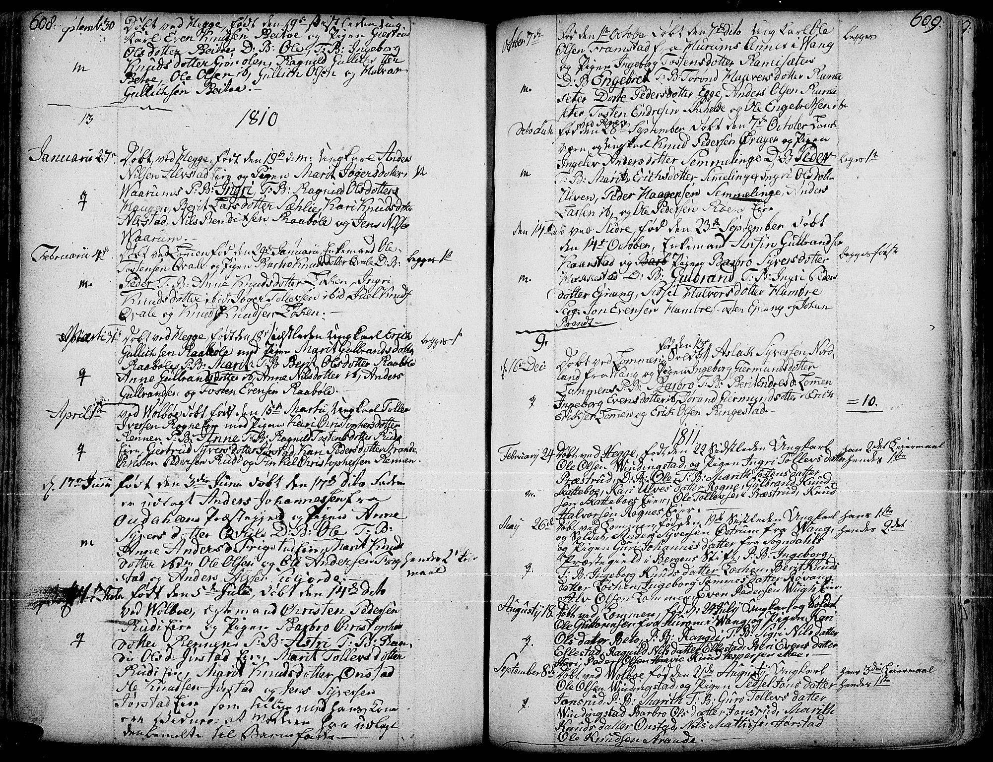 SAH, Slidre prestekontor, Ministerialbok nr. 1, 1724-1814, s. 608-609