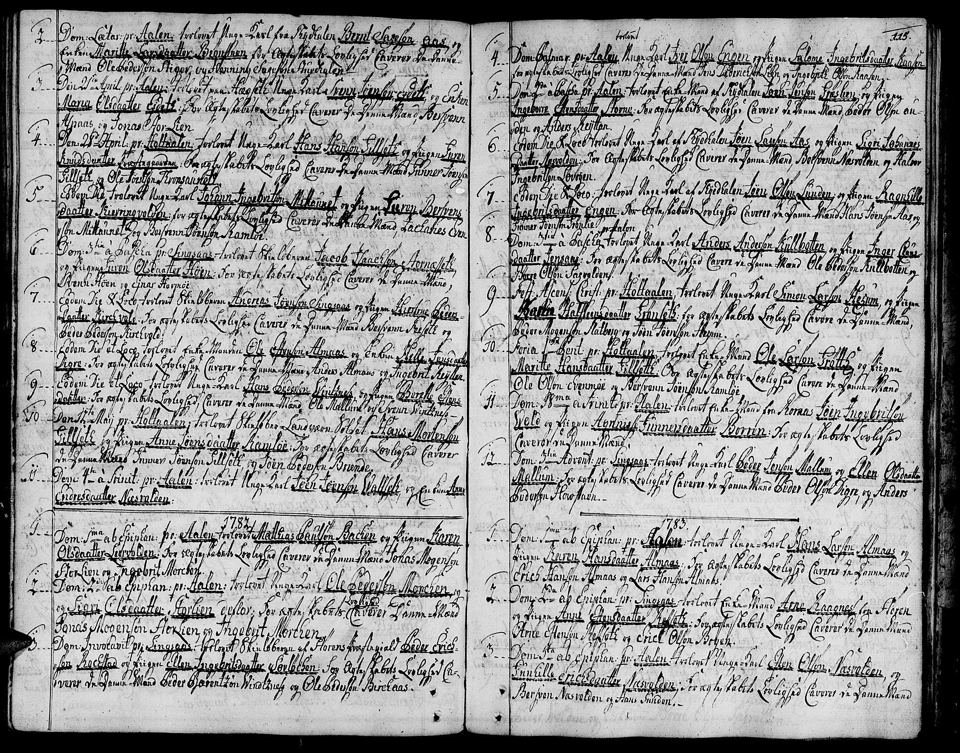 SAT, Ministerialprotokoller, klokkerbøker og fødselsregistre - Sør-Trøndelag, 685/L0952: Ministerialbok nr. 685A01, 1745-1804, s. 115