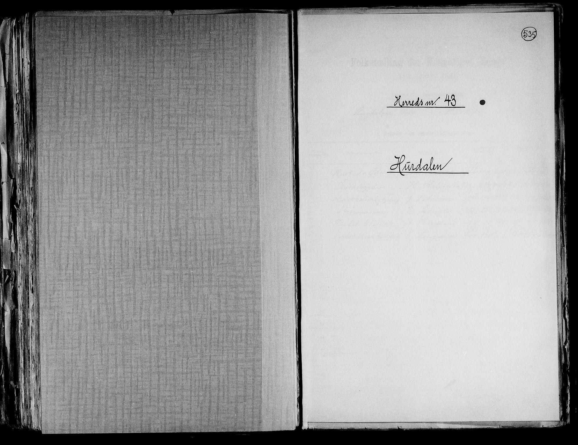 RA, Folketelling 1891 for 0239 Hurdal herred, 1891, s. 1