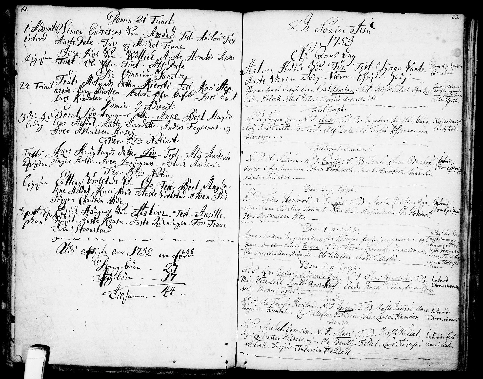 SAKO, Drangedal kirkebøker, F/Fa/L0001: Ministerialbok nr. 1, 1697-1767, s. 62-63