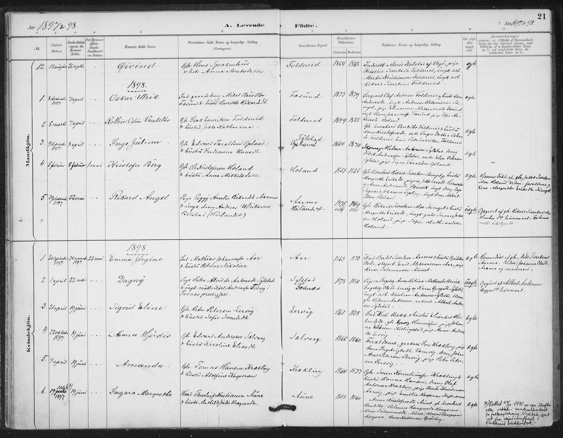 SAT, Ministerialprotokoller, klokkerbøker og fødselsregistre - Nord-Trøndelag, 783/L0660: Ministerialbok nr. 783A02, 1886-1918, s. 21