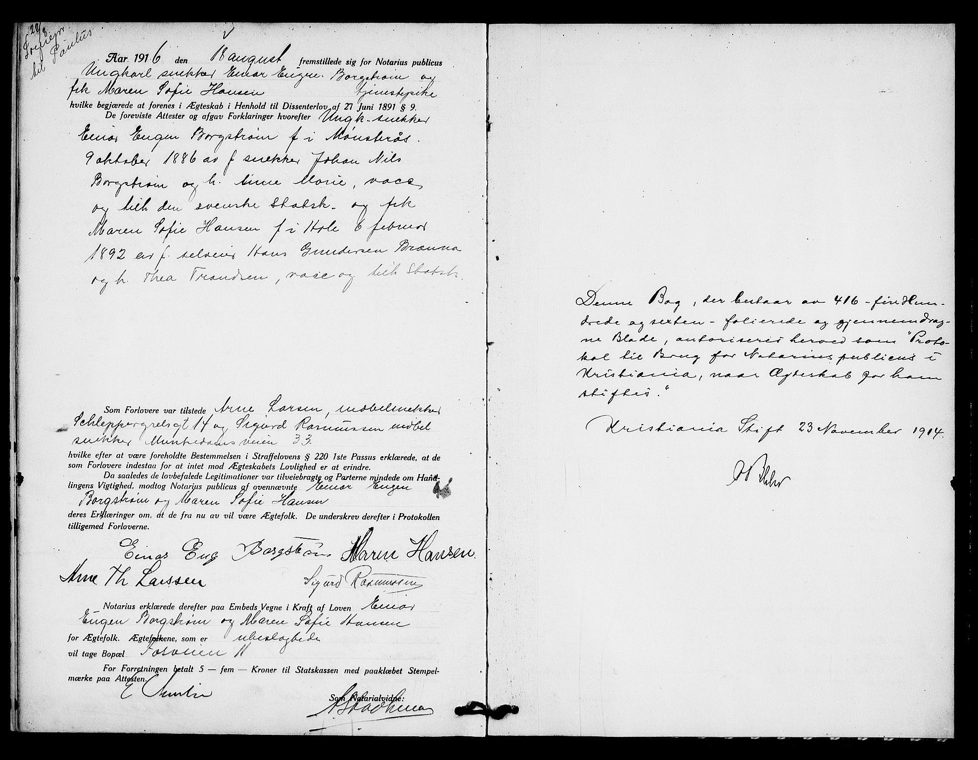 SAO, Oslo byfogd avd. I, L/Lb/Lbb/L0010: Notarialprotokoll, rekke II: Vigsler, 1914-1916, s. 516b