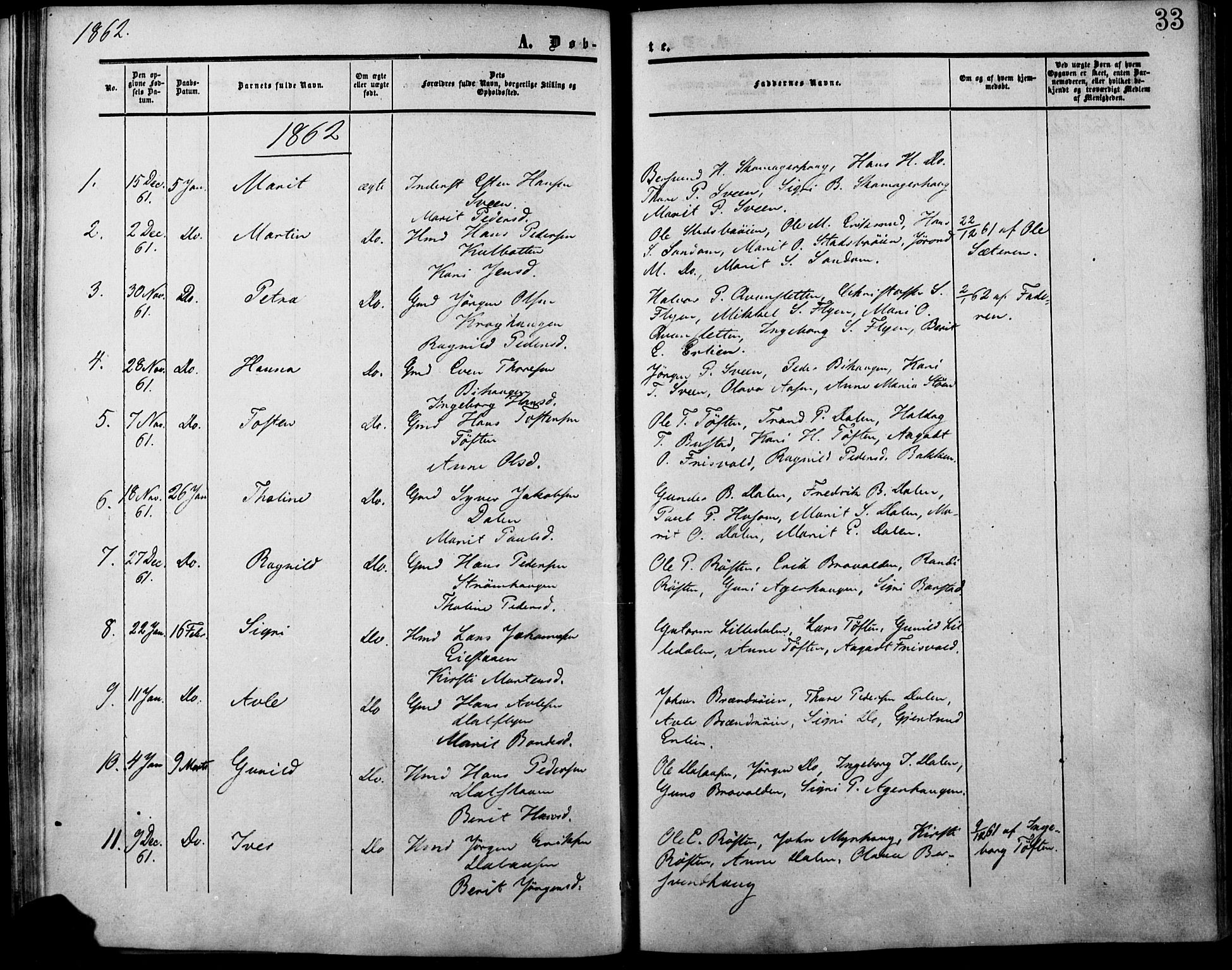 SAH, Lesja prestekontor, Ministerialbok nr. 7, 1854-1862, s. 33