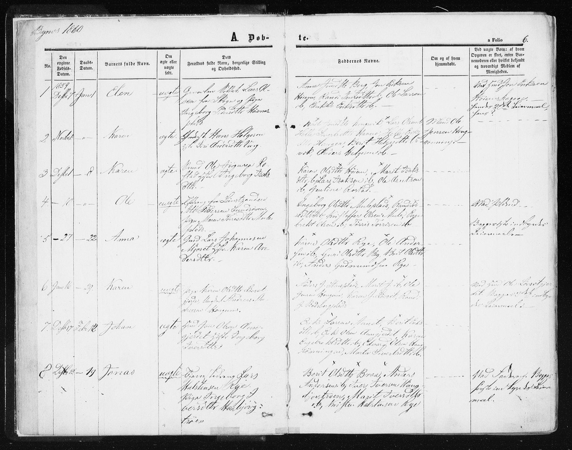 SAT, Ministerialprotokoller, klokkerbøker og fødselsregistre - Sør-Trøndelag, 612/L0377: Ministerialbok nr. 612A09, 1859-1877, s. 6