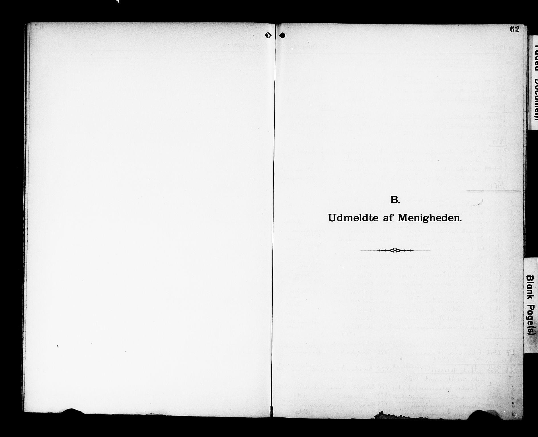 SAK, Den katolsk-apostoliske menighet, Kristiansand, F/Fa/L0002: Dissenterprotokoll nr. 2, 1896-1925, s. 62
