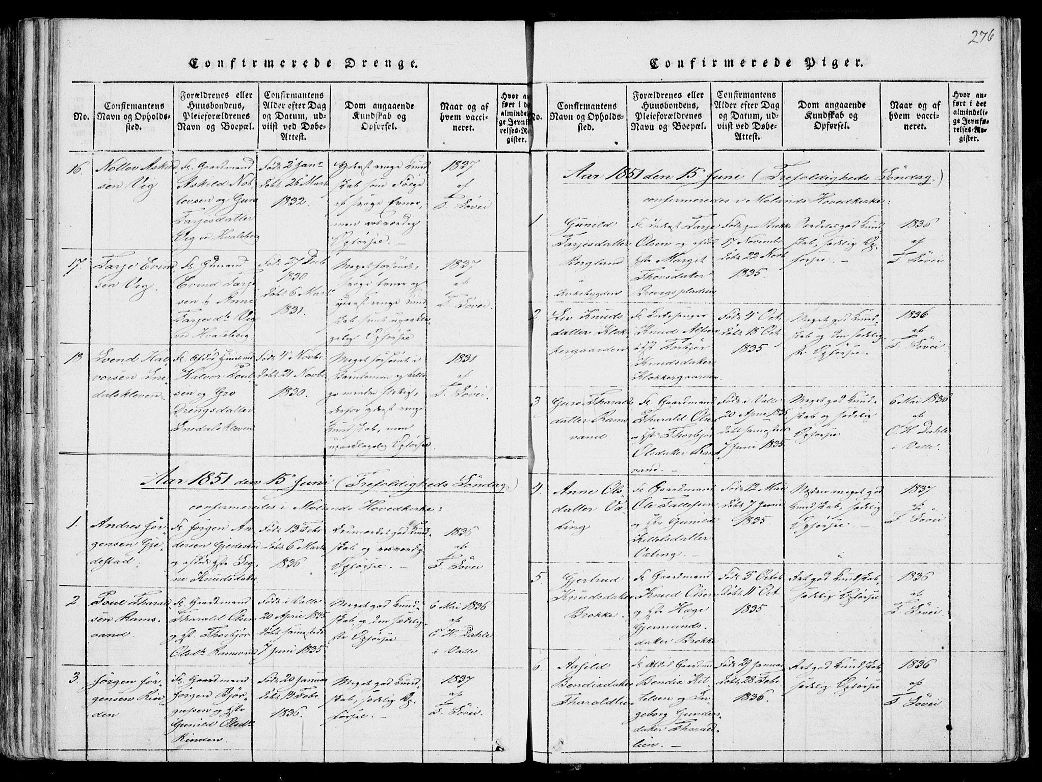 SAKO, Fyresdal kirkebøker, F/Fa/L0004: Ministerialbok nr. I 4, 1815-1854, s. 276