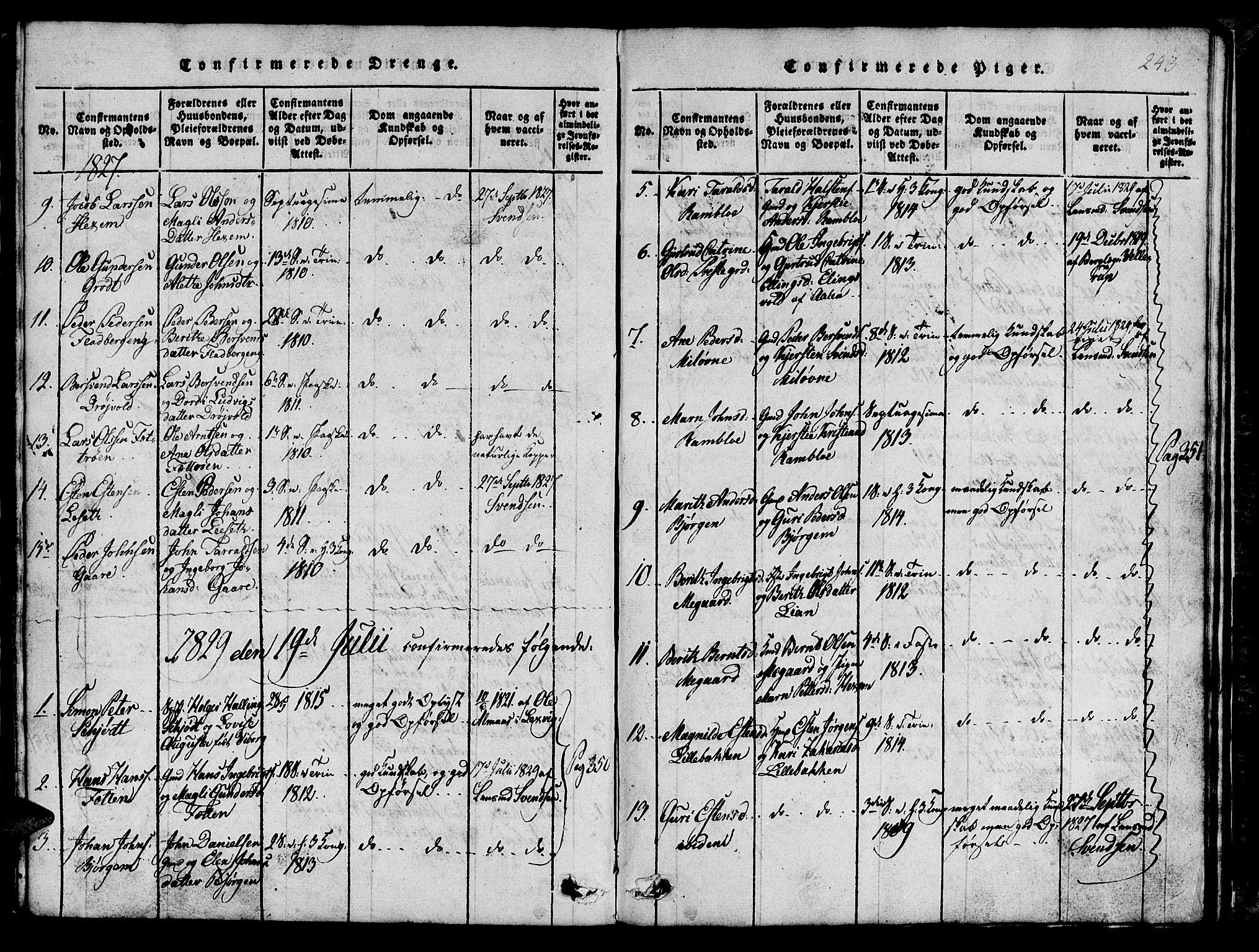 SAT, Ministerialprotokoller, klokkerbøker og fødselsregistre - Sør-Trøndelag, 685/L0976: Klokkerbok nr. 685C01, 1817-1878, s. 243