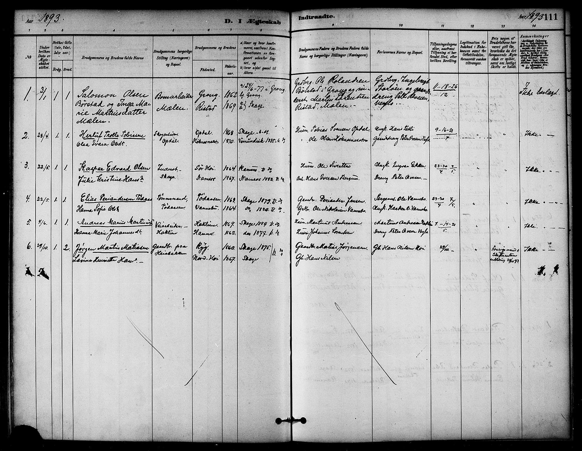 SAT, Ministerialprotokoller, klokkerbøker og fødselsregistre - Nord-Trøndelag, 766/L0563: Ministerialbok nr. 767A01, 1881-1899, s. 111
