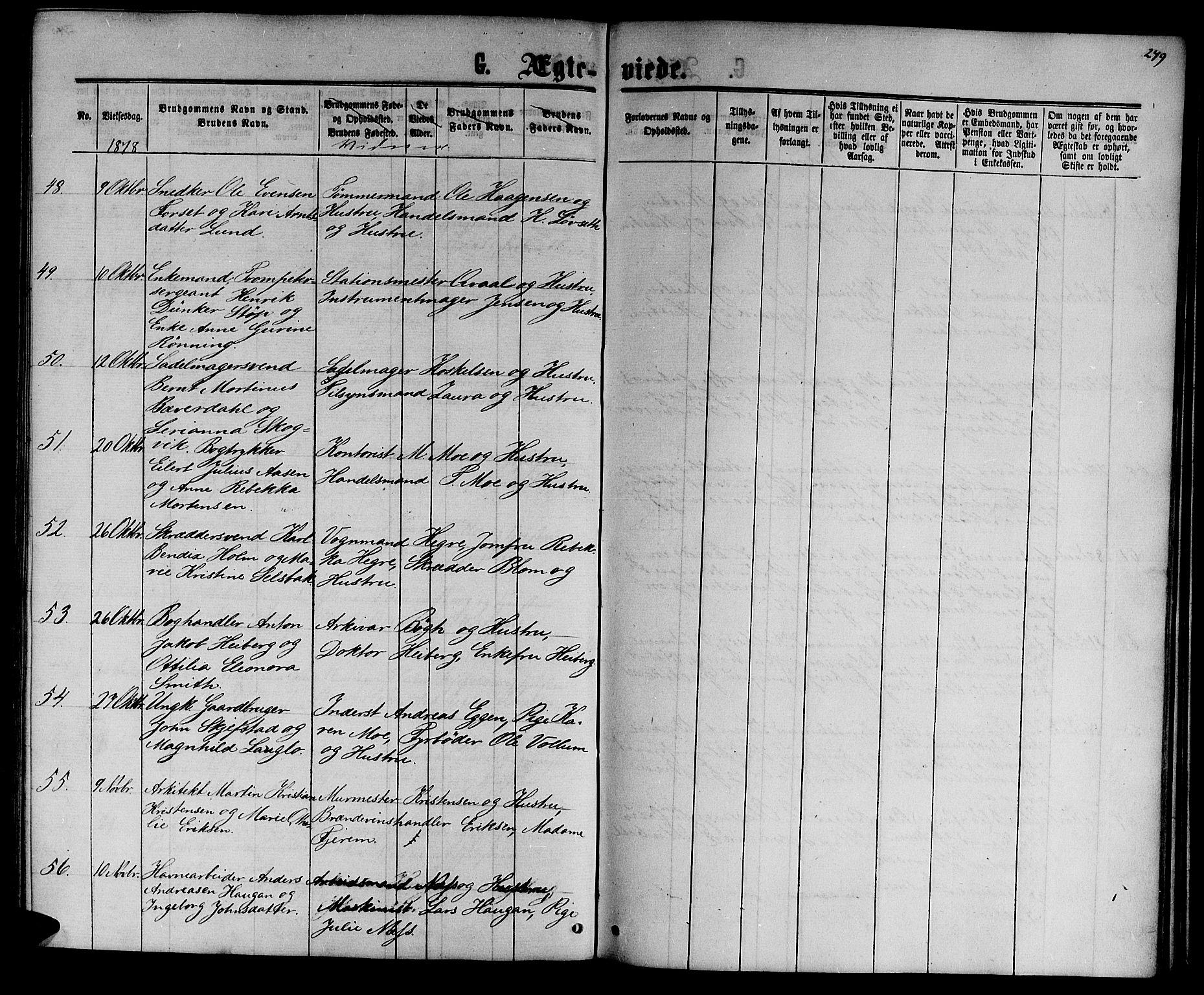SAT, Ministerialprotokoller, klokkerbøker og fødselsregistre - Sør-Trøndelag, 601/L0087: Klokkerbok nr. 601C05, 1864-1881, s. 249