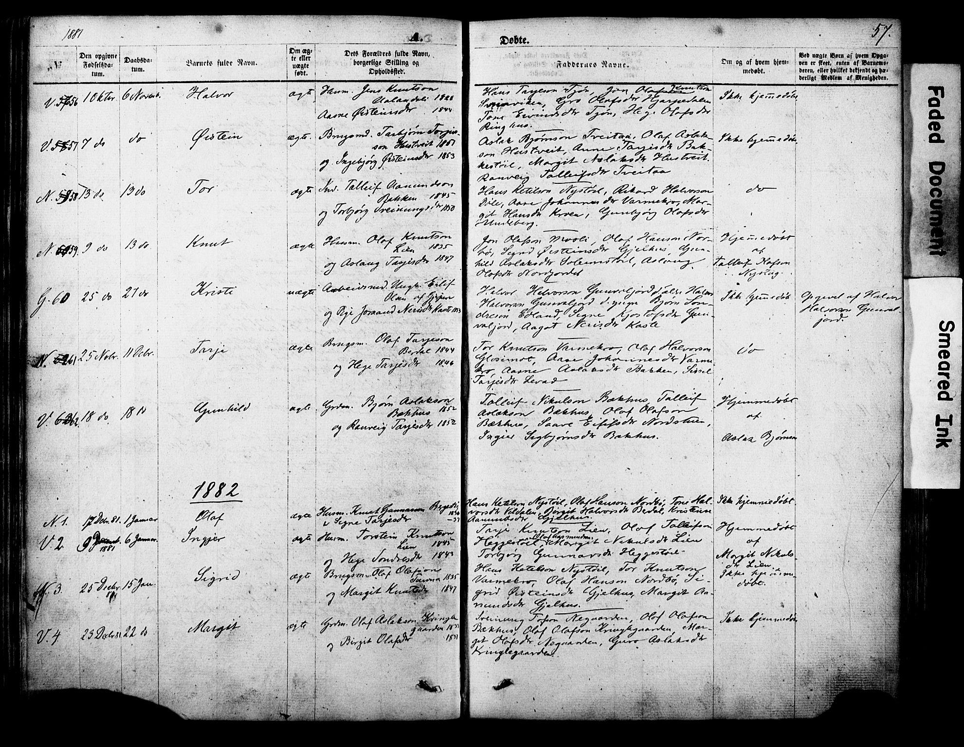SAKO, Vinje kirkebøker, F/Fa/L0005: Ministerialbok nr. I 5, 1870-1886, s. 57