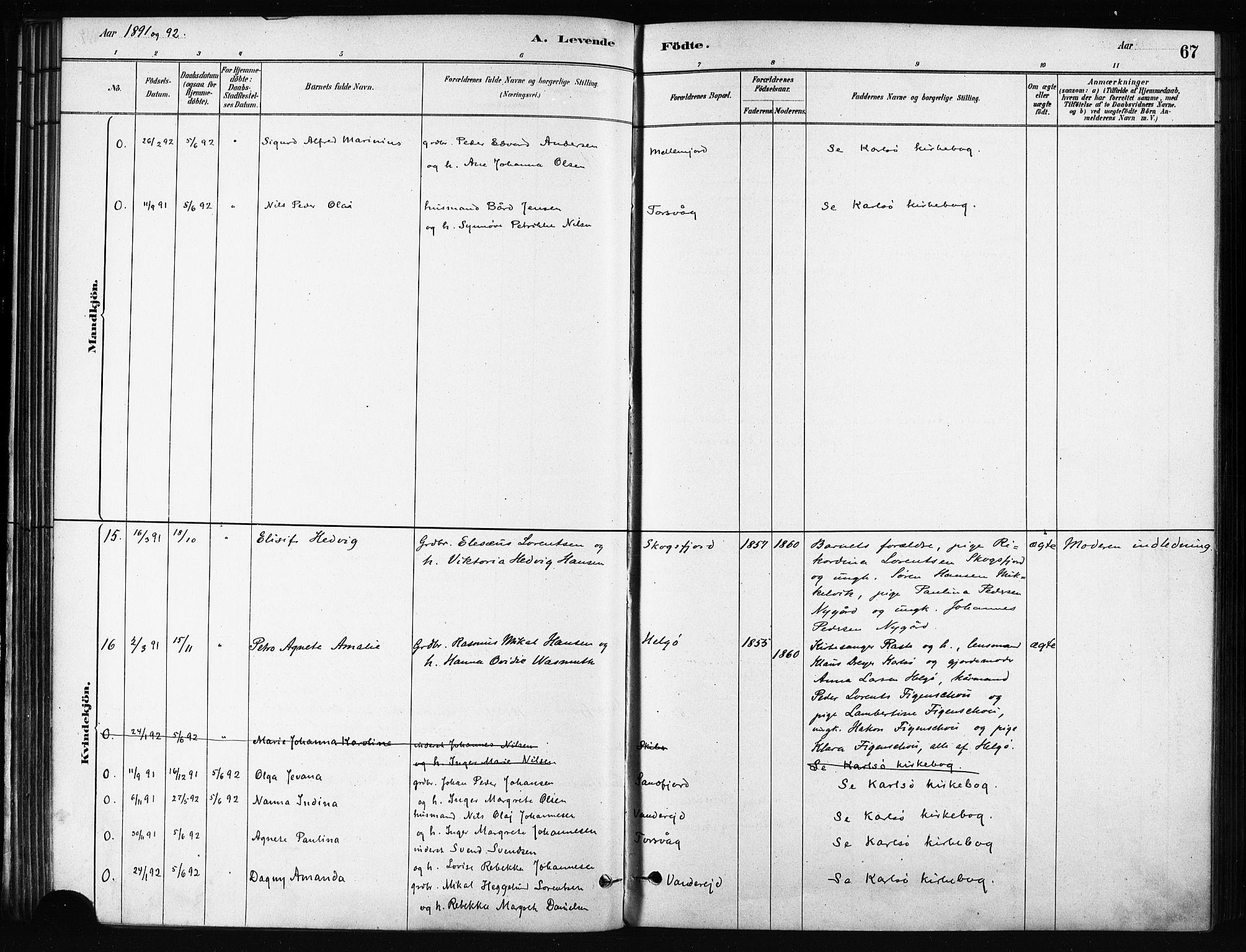 SATØ, Karlsøy sokneprestembete, H/Ha/Haa/L0011kirke: Ministerialbok nr. 11, 1879-1892, s. 67