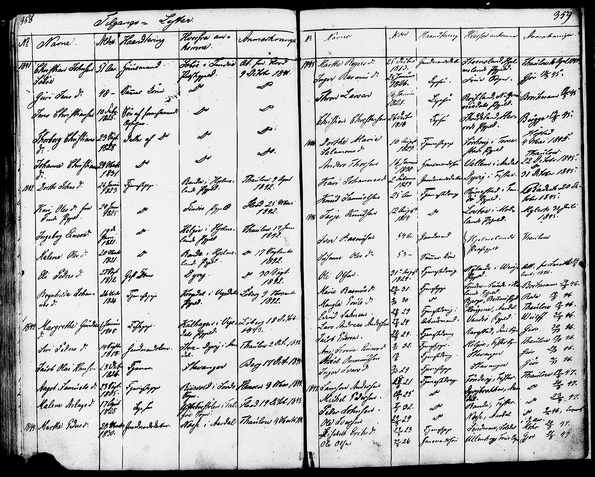 SAST, Strand sokneprestkontor, H/Ha/Haa/L0006: Ministerialbok nr. A 6, 1834-1854, s. 358-359