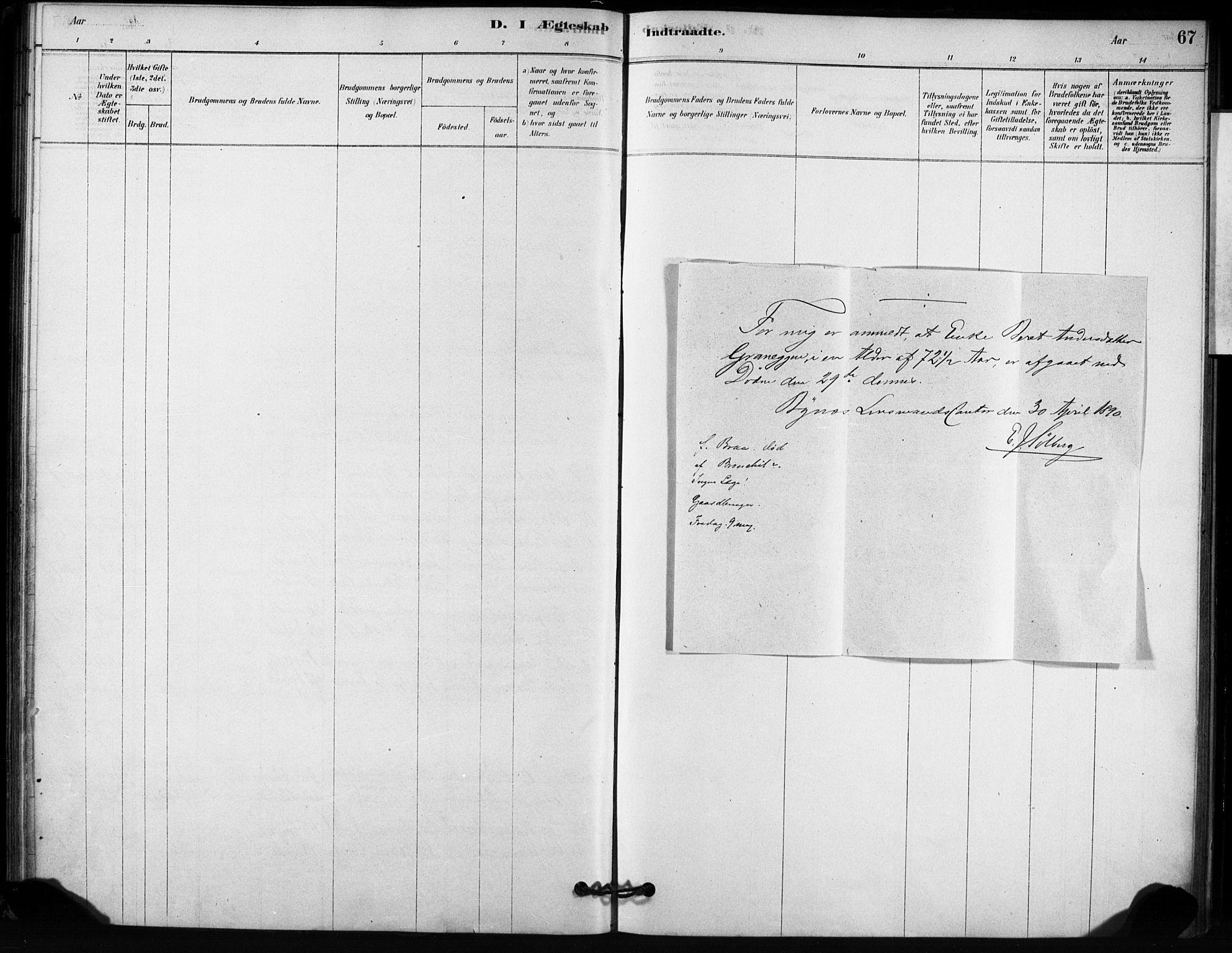 SAT, Ministerialprotokoller, klokkerbøker og fødselsregistre - Sør-Trøndelag, 666/L0786: Ministerialbok nr. 666A04, 1878-1895, s. 67