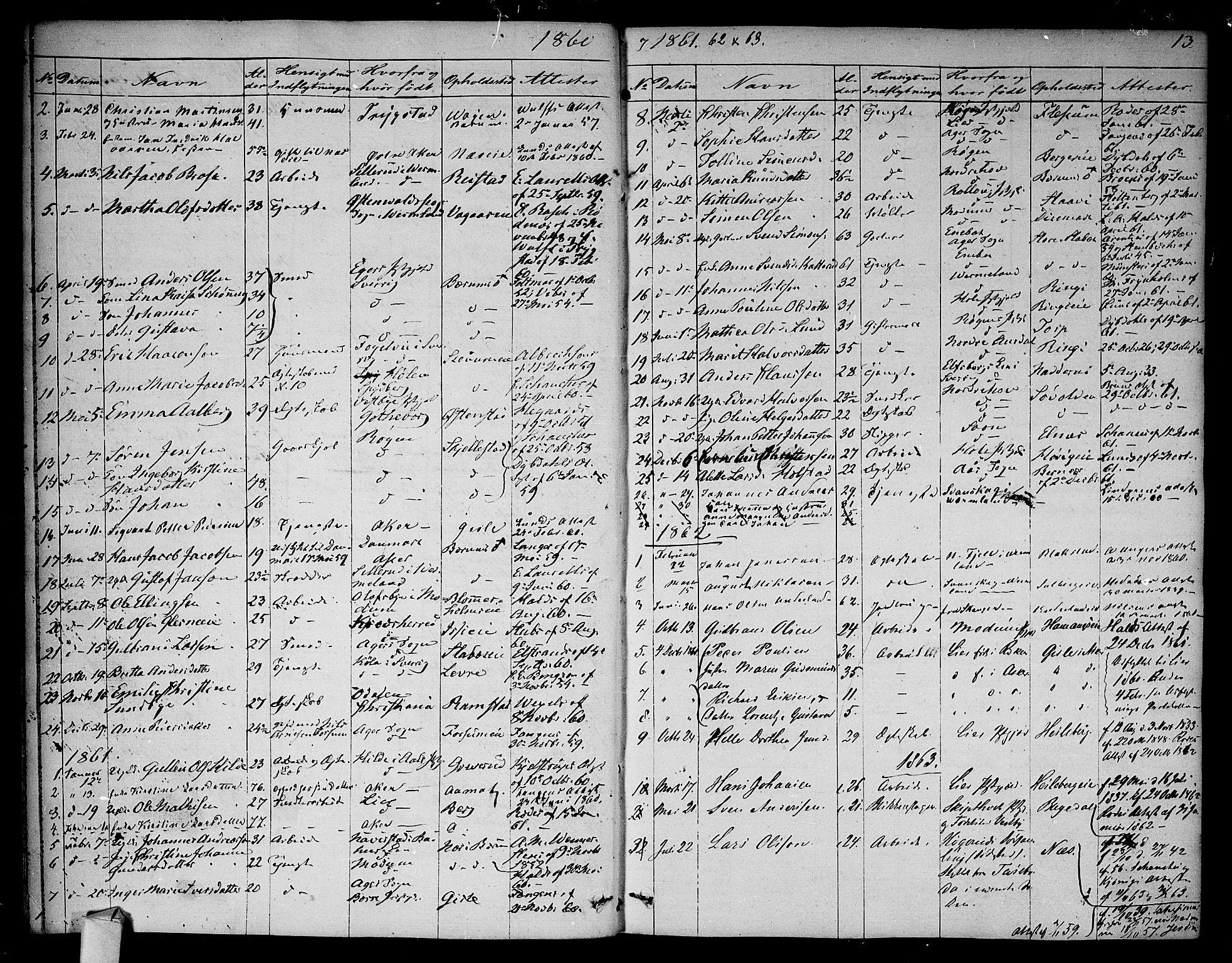 SAO, Asker prestekontor Kirkebøker, F/Fa/L0012: Ministerialbok nr. I 12, 1825-1878, s. 13