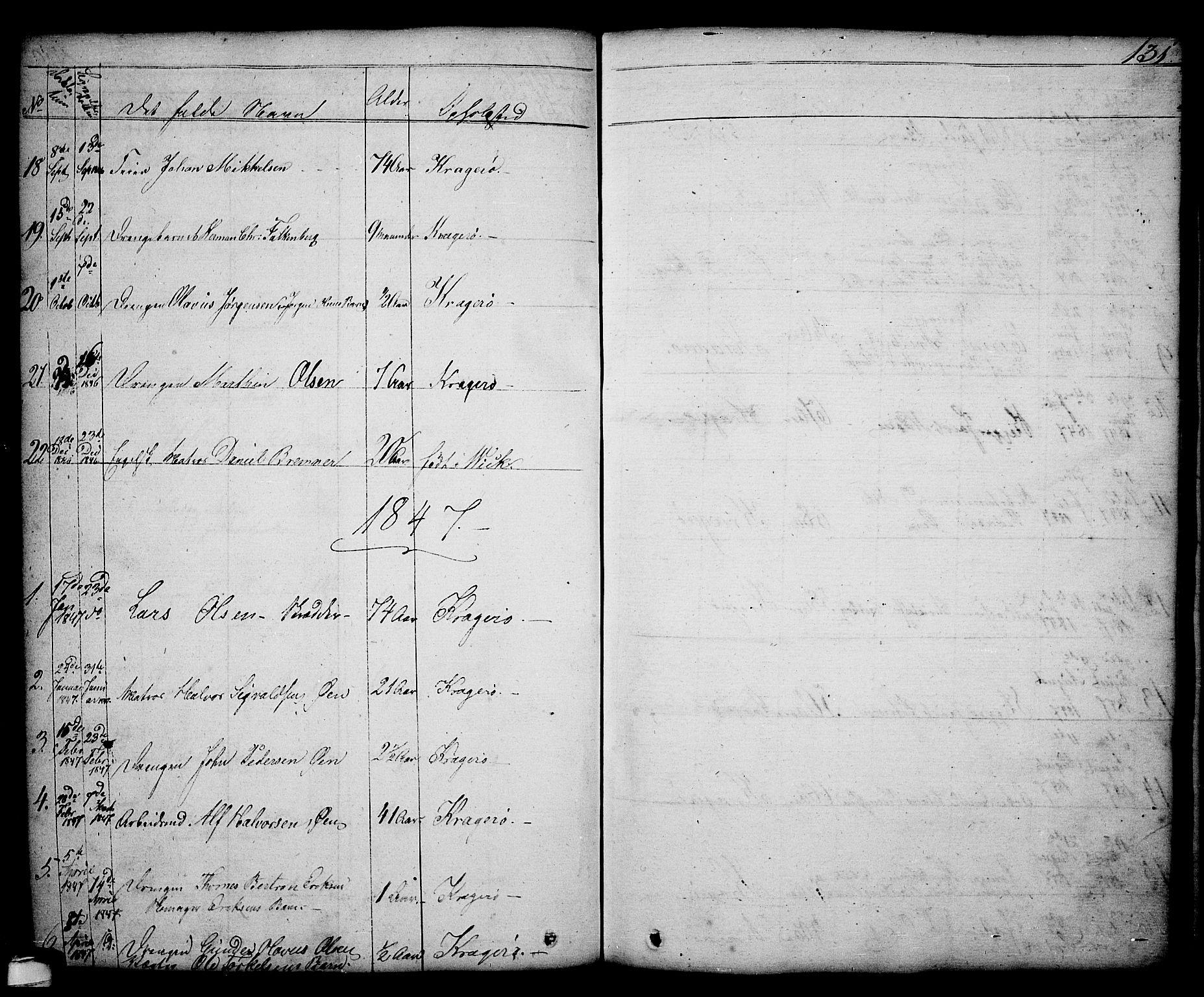 SAKO, Kragerø kirkebøker, G/Ga/L0003: Klokkerbok nr. 3, 1832-1852, s. 131