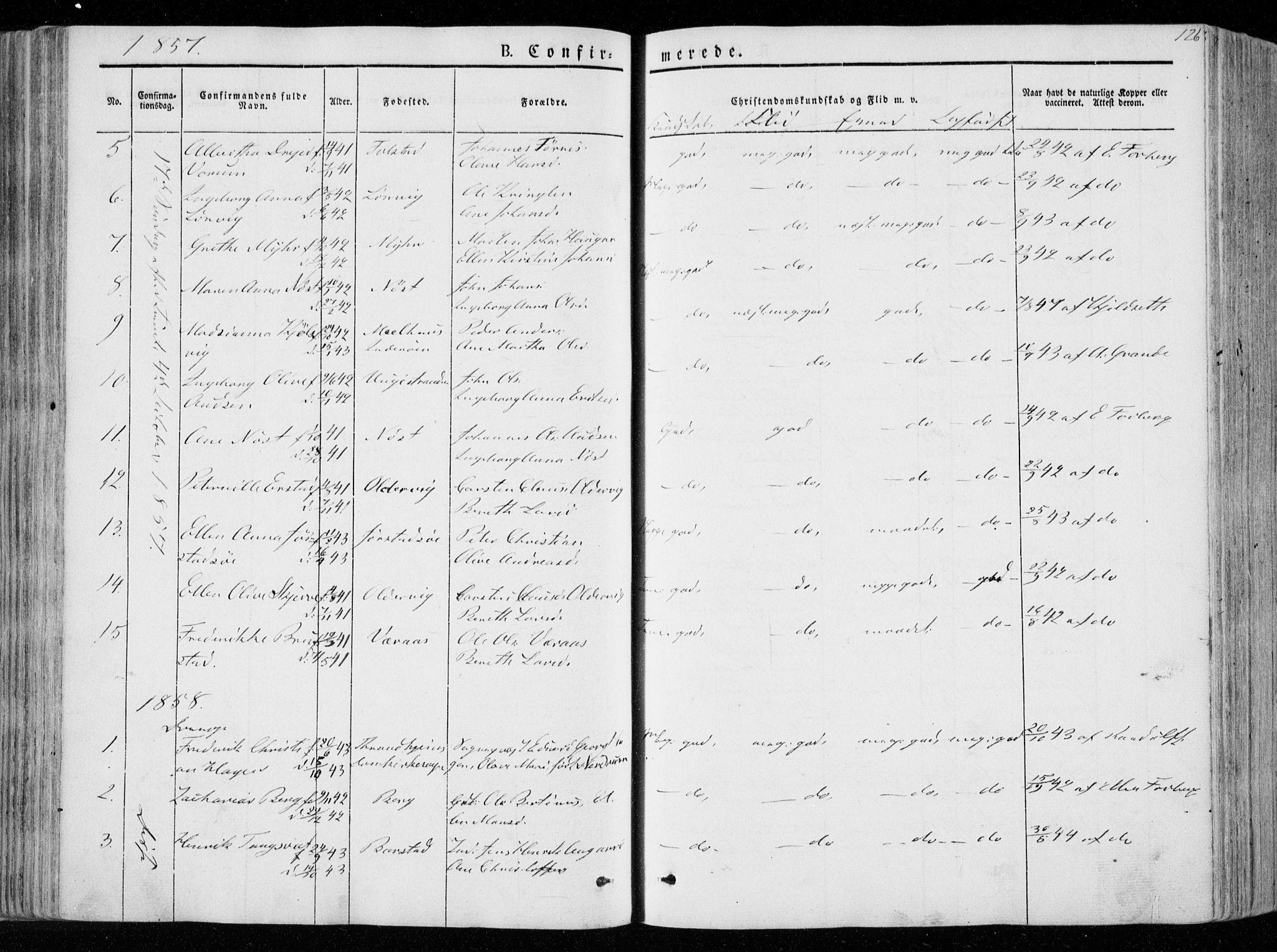 SAT, Ministerialprotokoller, klokkerbøker og fødselsregistre - Nord-Trøndelag, 722/L0218: Ministerialbok nr. 722A05, 1843-1868, s. 126