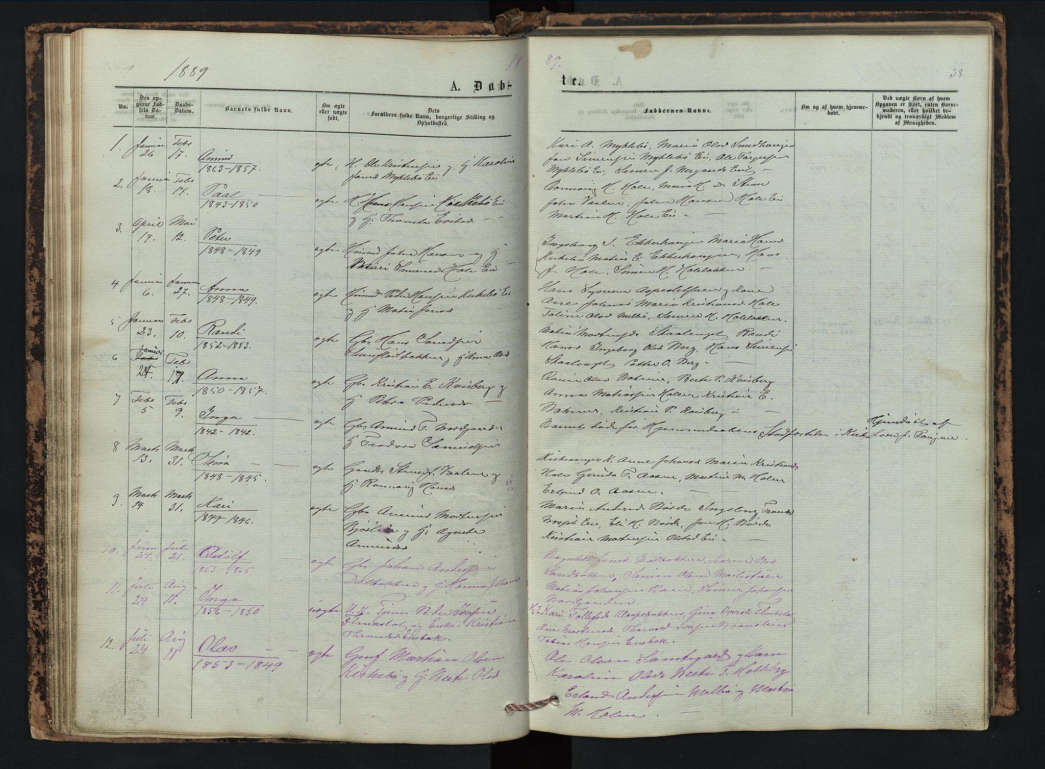 SAH, Vestre Gausdal prestekontor, Klokkerbok nr. 2, 1874-1897, s. 38