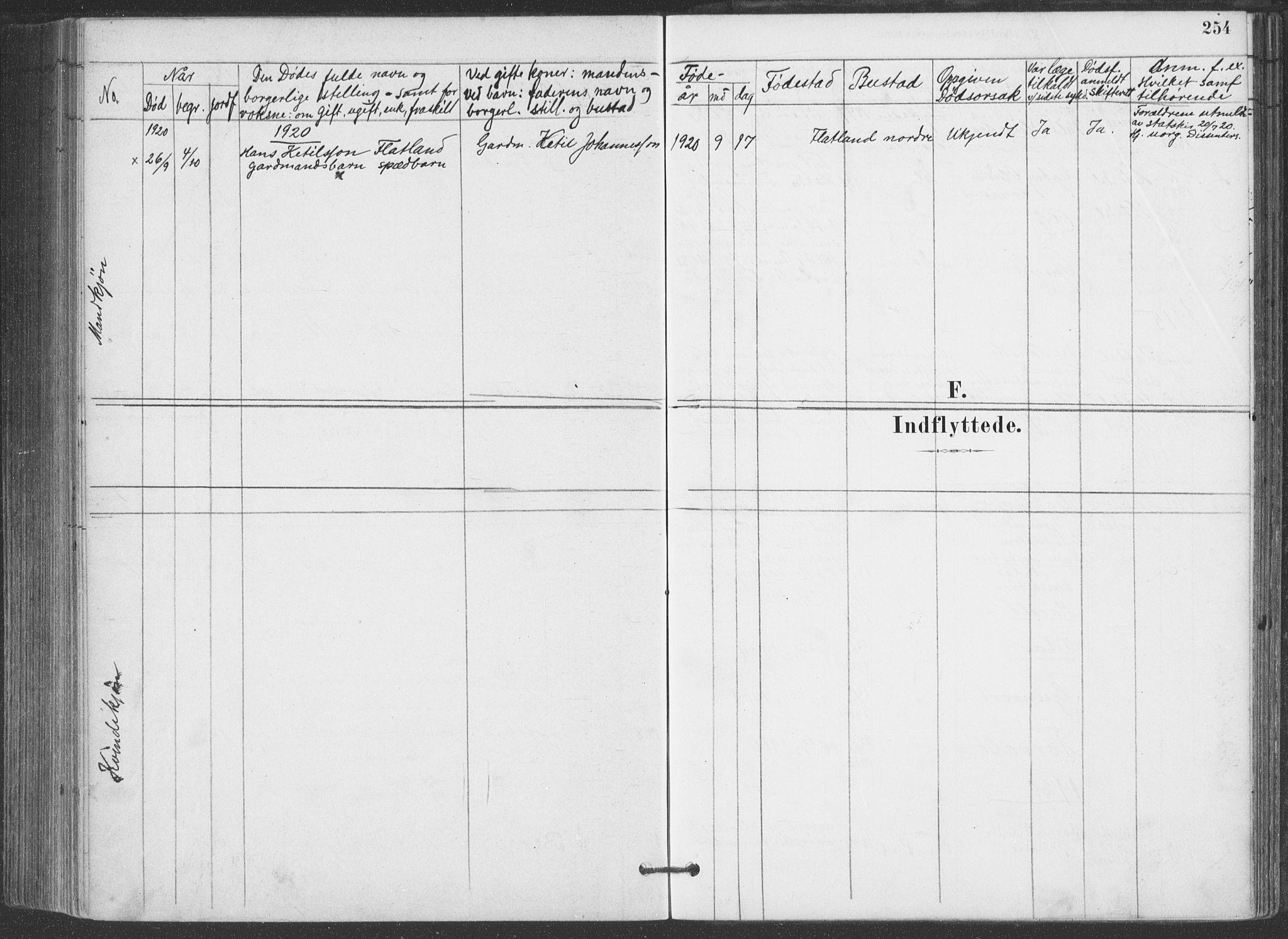 SAKO, Hjartdal kirkebøker, F/Fa/L0010: Ministerialbok nr. I 10, 1880-1929, s. 254