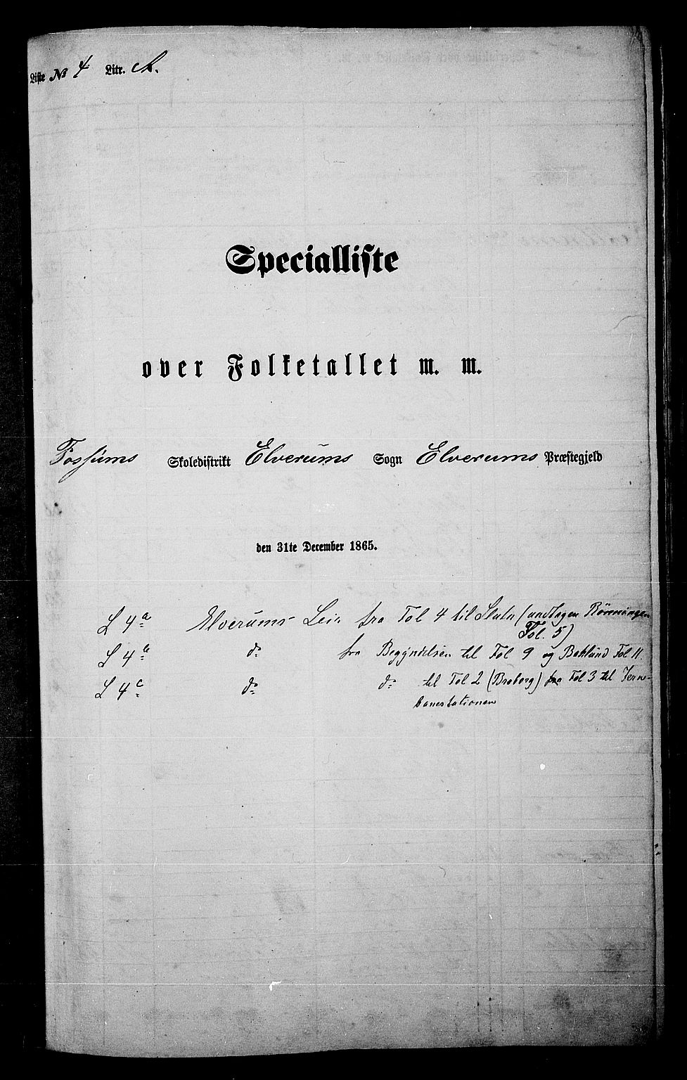 RA, Folketelling 1865 for 0427P Elverum prestegjeld, 1865, s. 86